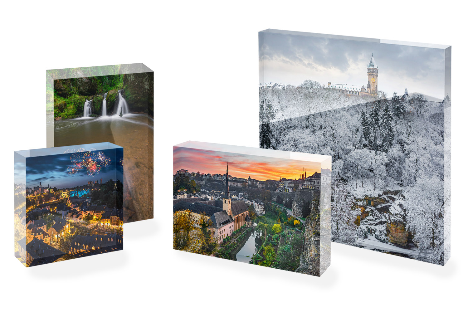 Luxembourg Acrylic Glass Block Selection - Various Sizes - Gift Souvenir Trip Travel Luxembourg - Photography by Christophe Van Biesen - Luxembourg Landscape and Travel Photographer