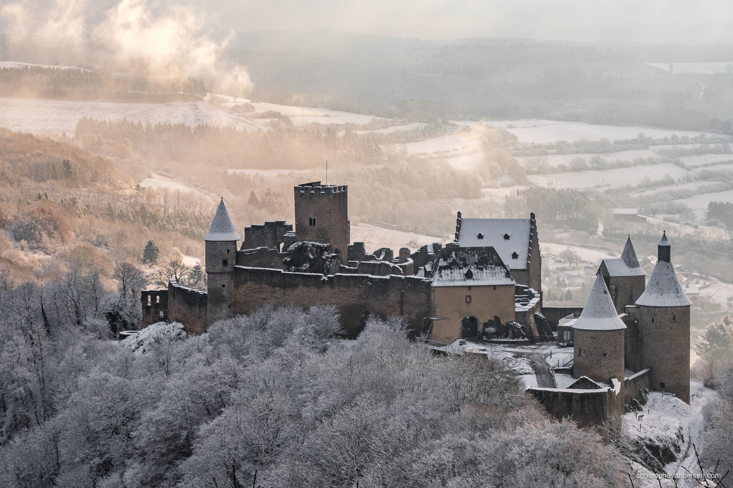 Bourscheid Castle in Winter - Luxembourg - Bourscheid castle in the Grand-Duchy of Luxembourg during winter - Dawn in the North
