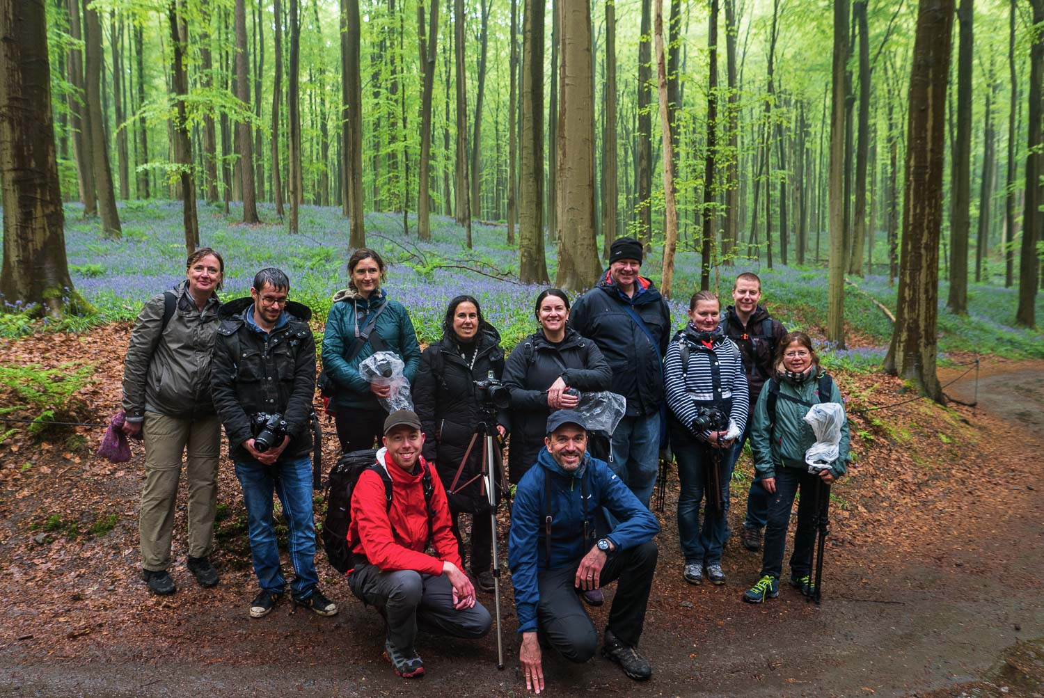 Group picture of the April 2018 photography workshop in the Hallerbos