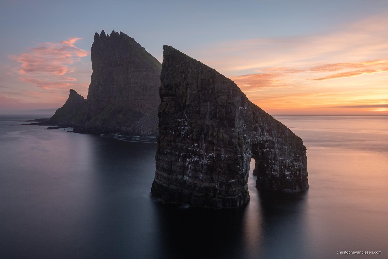 Vagar - Faroe Islands - The sea stacks of Drangarnir and Tindhólmur from the islands of Vagar in the Faroe Islands - Dragon Island