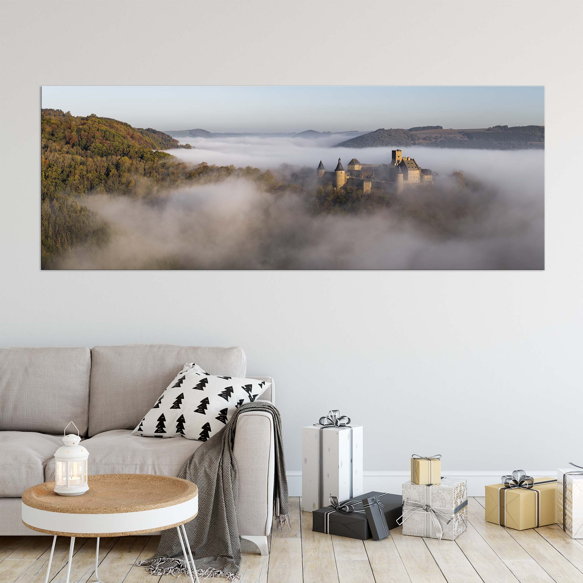 Luxembourg Christmas Gifts - Artworks - Panoramic Acrylic Art Print - Castle in the Fog - Photography by Christophe Van Biesen