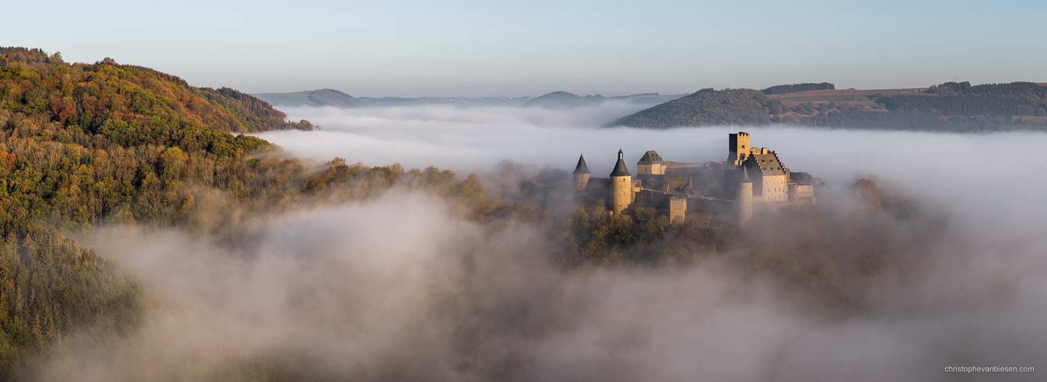 Luxembourg - Bourscheid castle in the fog during an autumn sunrise - Castle Adrift in the Valley of Fog