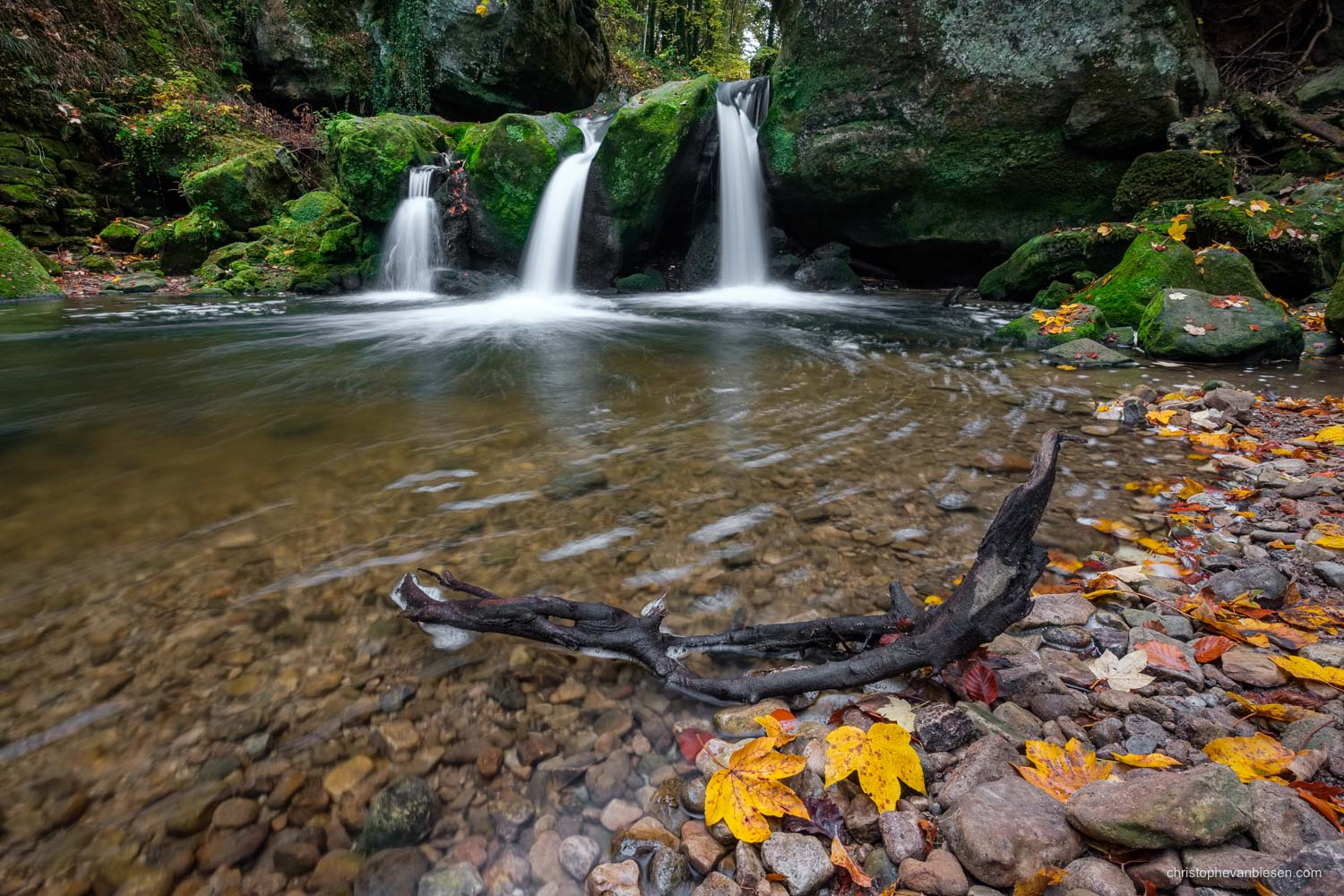 Luxembourg - Fall at the Mullerthal's most famous waterfall - Autumn at the Schiessentumpel