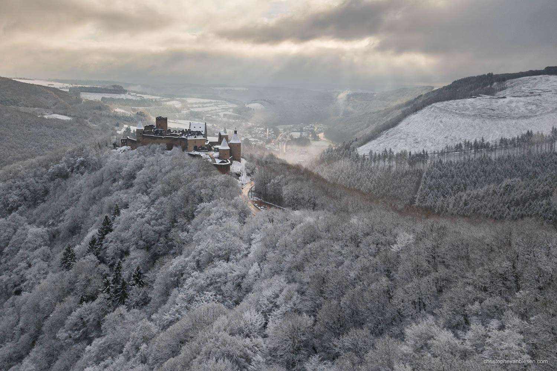 Chateau de Bourscheid - Luxembourg - Bourscheid castle in the Grand-Duchy of Luxembourg during winter - Frozen Kingdom