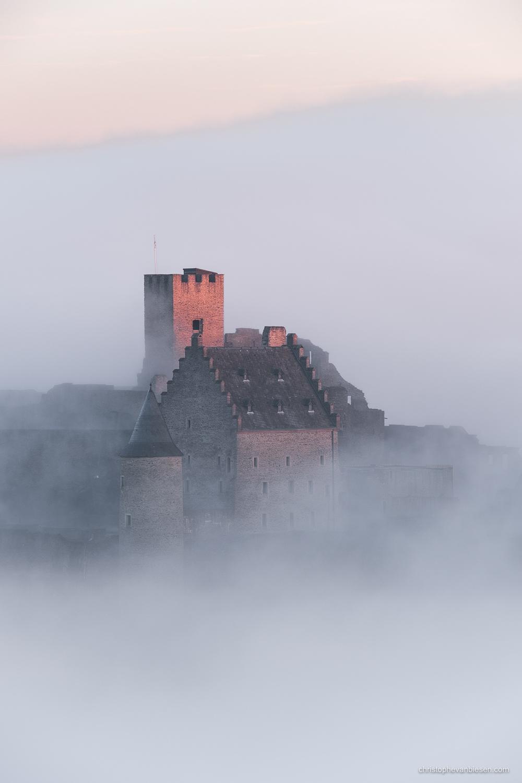 Bourscheid Castle in the fog - Chateau de Bourscheid - Luxembourg - Bourscheid Castle playing hide and seek in the fog - Castle in the Sky