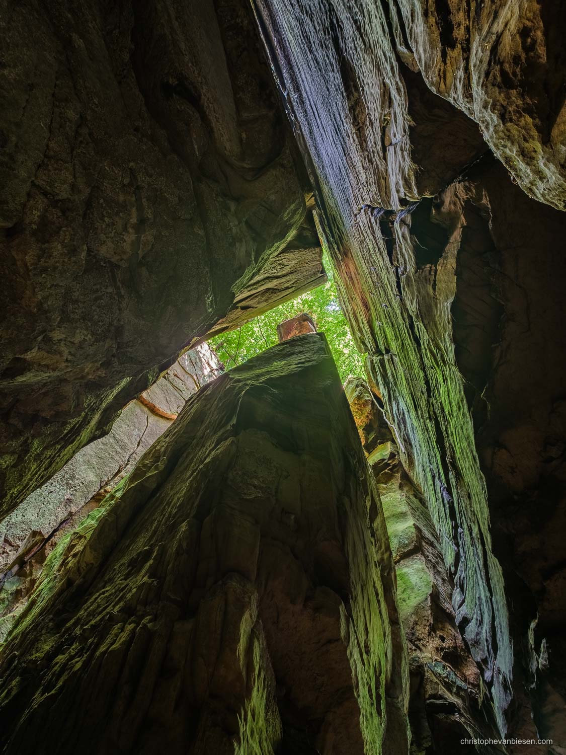 Visit the Mullerthal - Luxembourg - Looking up inside the Goldfralay caves in Luxembourg's Mullerthal region - Under the Canopy