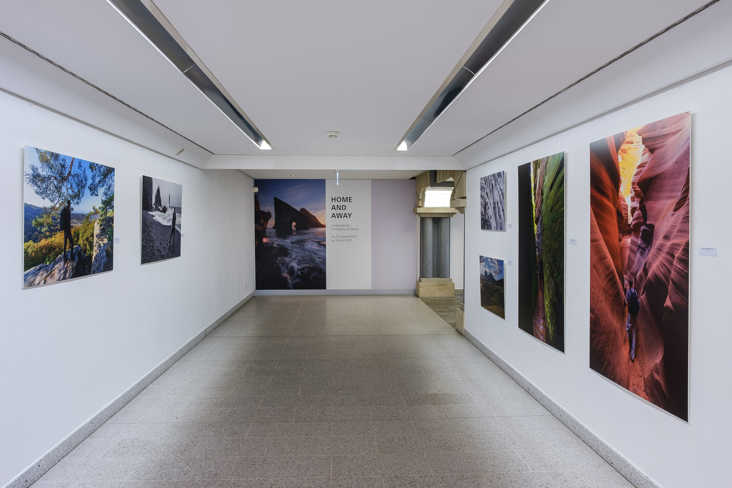 Landscape photography exhibition at the Contemporary Art Gallery Am Tunnel in Luxembourg City - Home and Away - Landscapes by Christophe Van Biesen - Entrance of the exhibition
