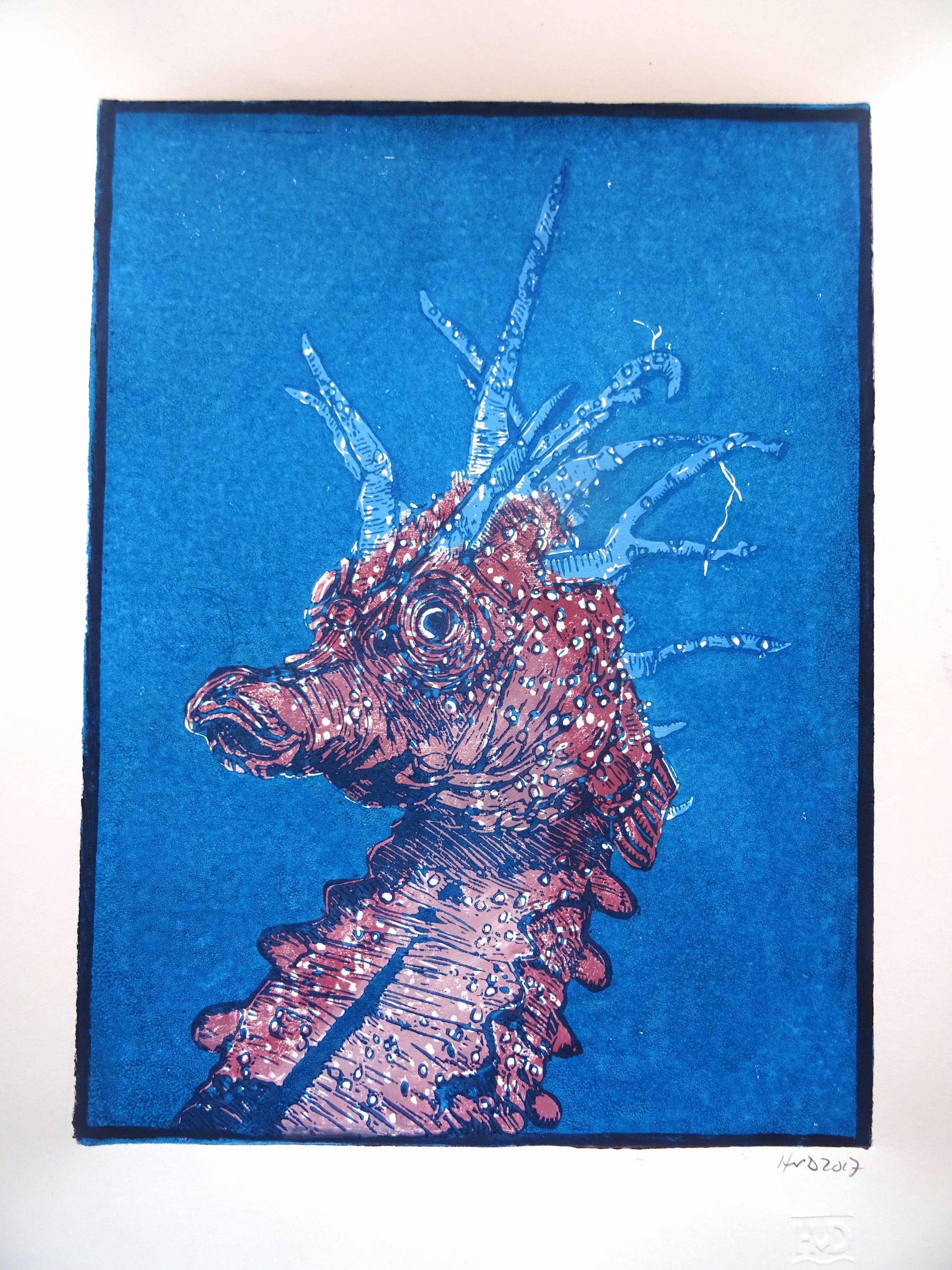 171-1, hippocampe 2, 28x21cm, 2 plate lino, 80 €