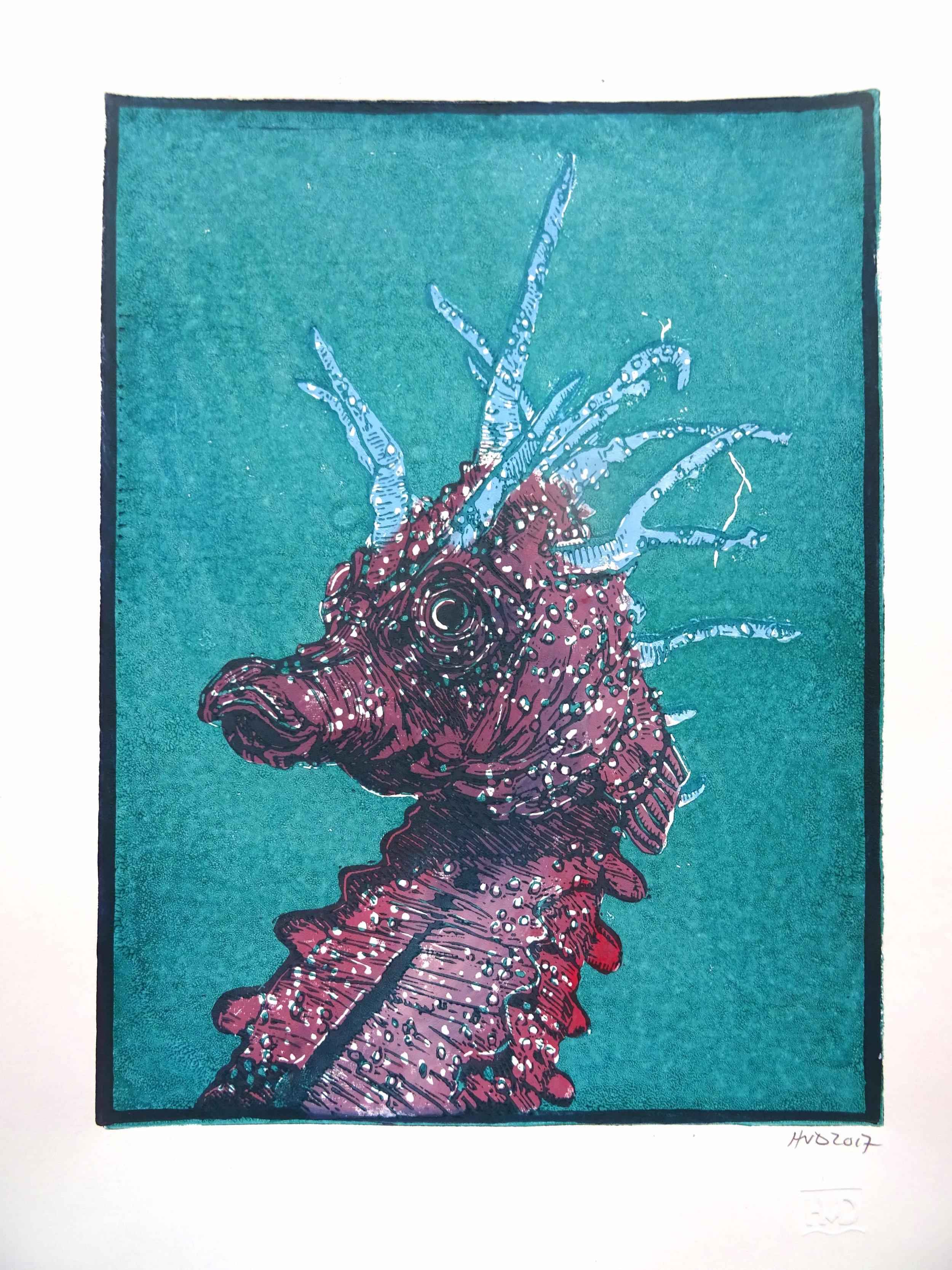 171-3, hippocampe 2, 28x21cm, 2-plate lino, 80 €
