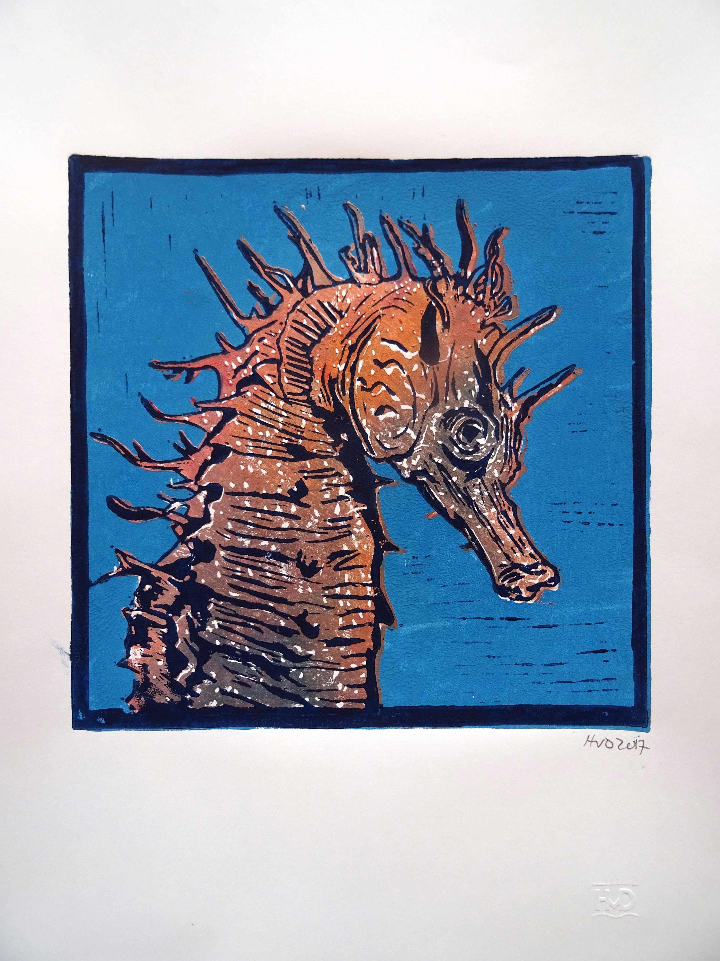 170-1, hippocampe 1, 21x21 cm, 3-plate lino. 80 €
