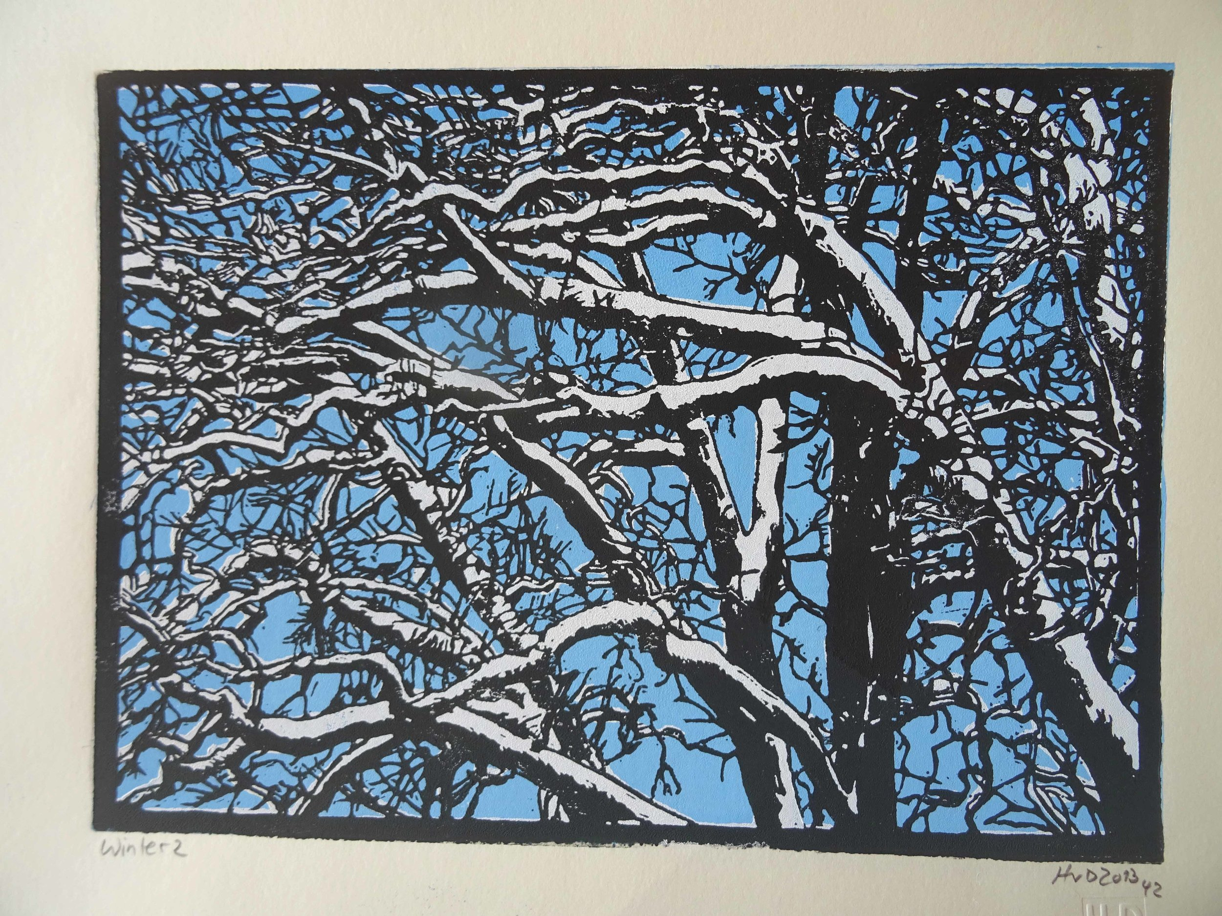 135-1, winter trees, 21x30 cm, 3-plate lino, 80 €