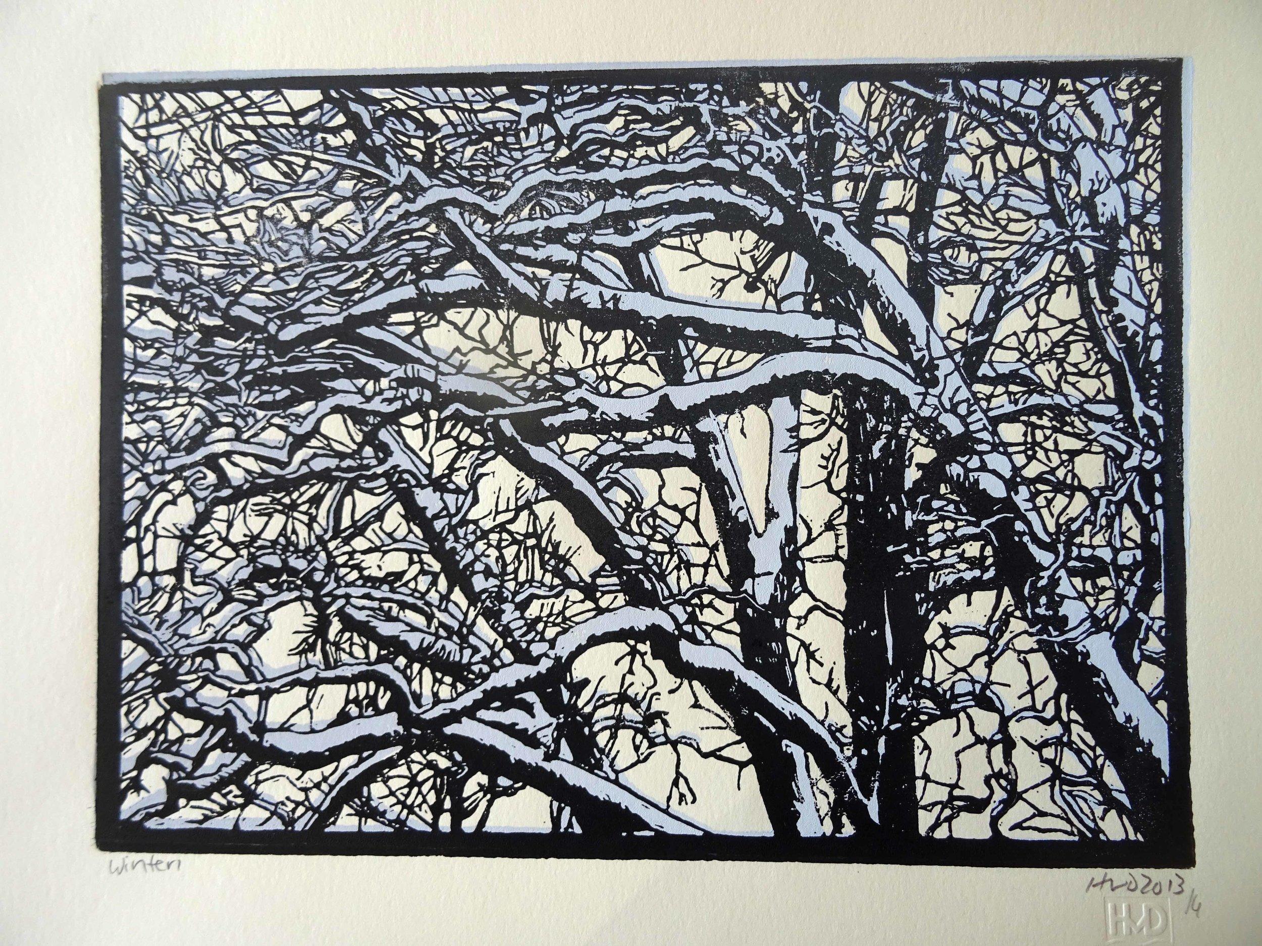 135-3, winter trees, 21x30 cm, 2-plate lino, 60 €