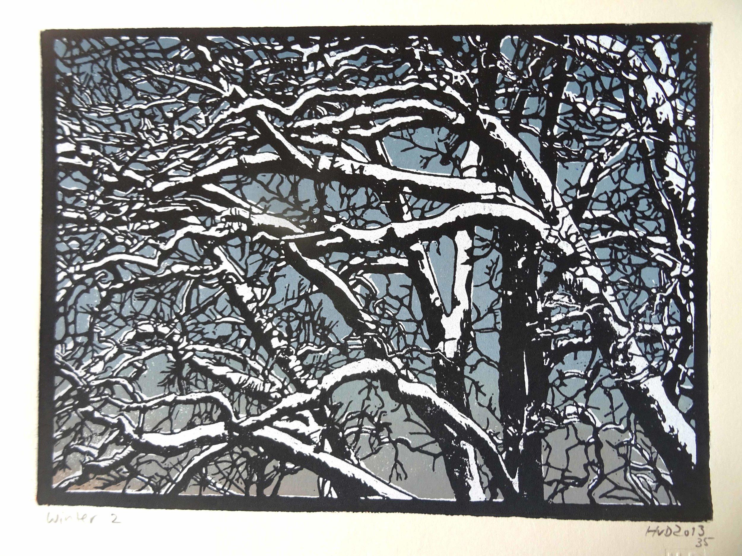 135-4, winter trees, 21x30 cm, 3-plate lino, 80 €