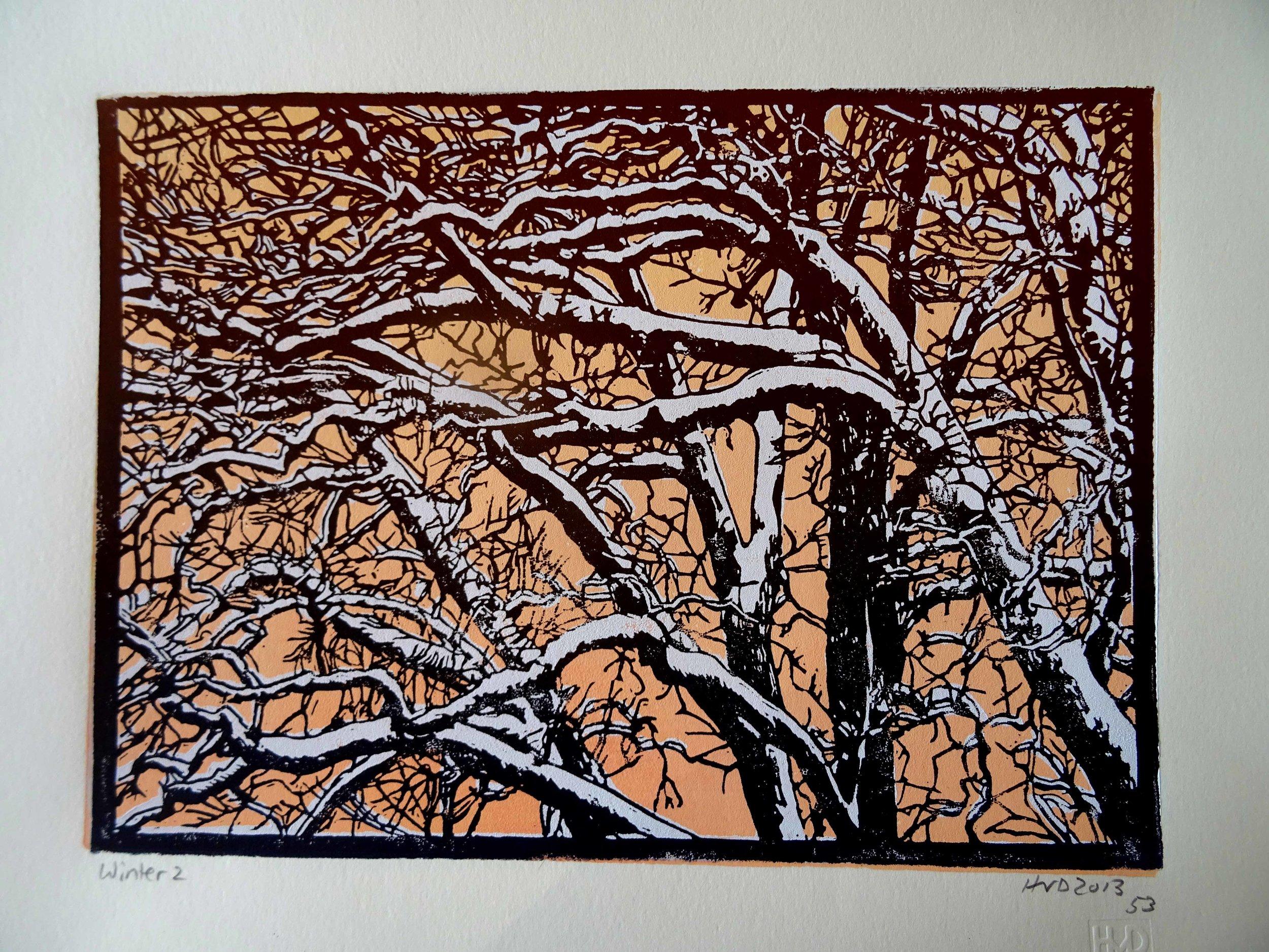 135-5, winter trees, 21x30 cm, 3-plate lino, 80 €