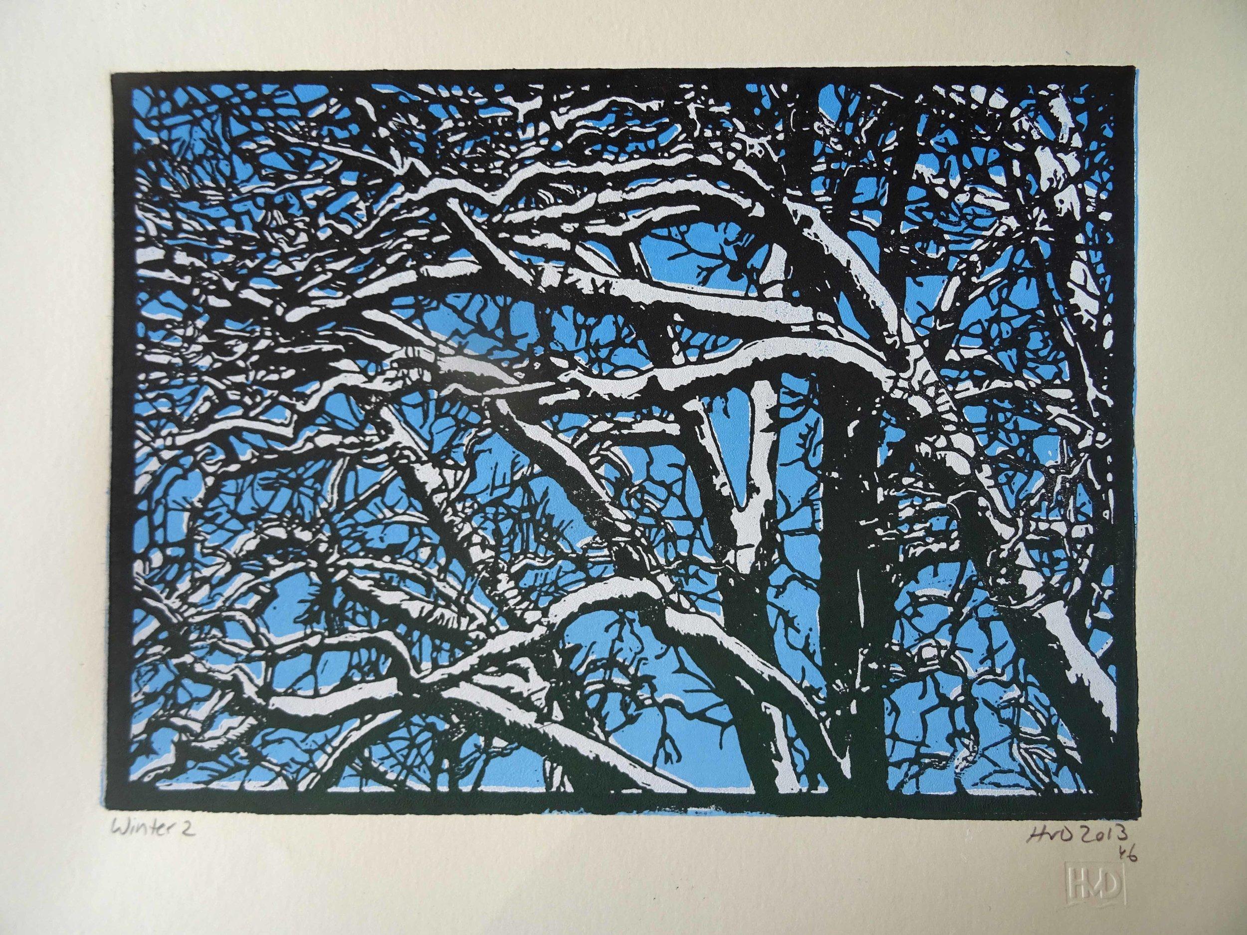 135-7, winter trees, 21x30cm, 3-plate lino, 80 €
