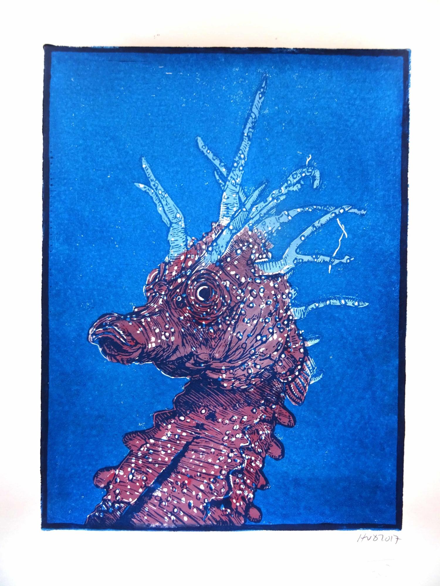171-2, hippocampe 2, 28x21cm, 2 plate lino, 80 €