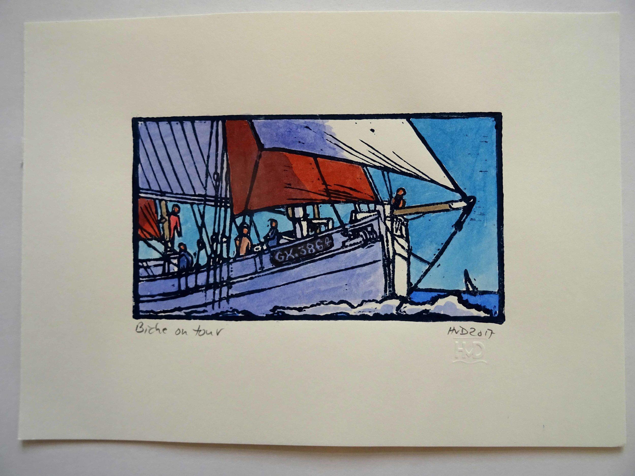155 - Biche on tour, 10x18 cm, coloured lino, 40 €
