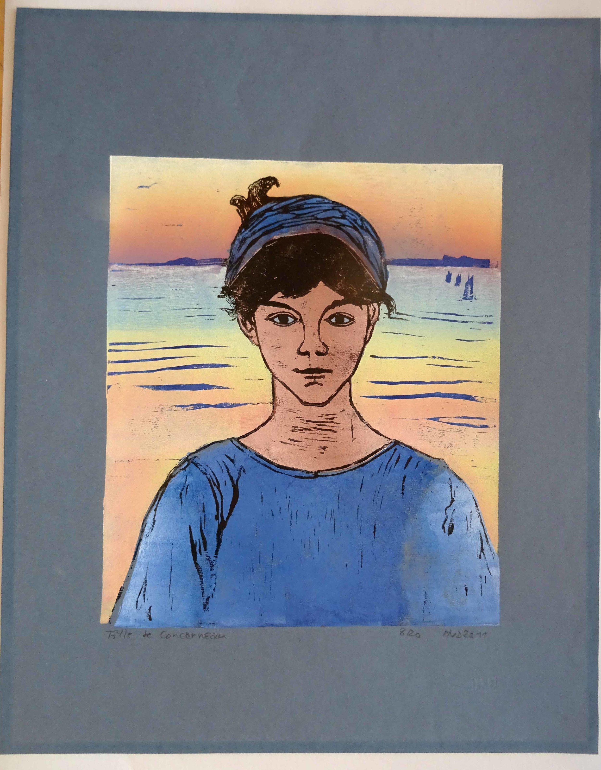 76 - fille de Concarneau, 3-plate lino 31x26 cm on grey paper 50x40 cm, 140 €