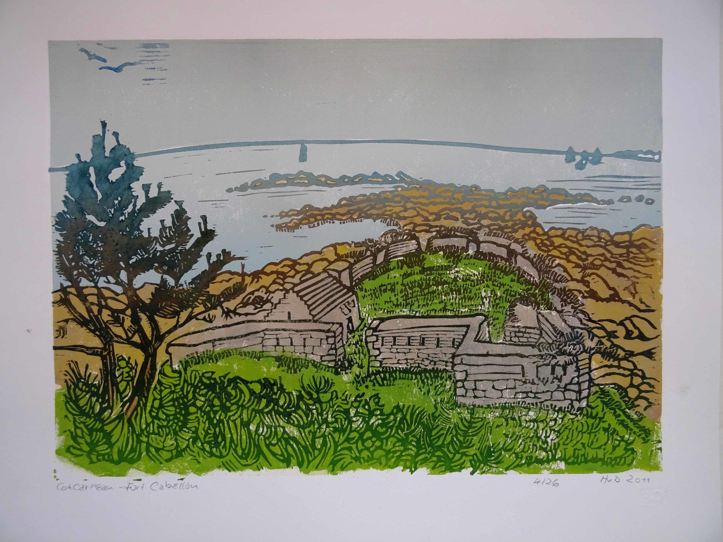 82 - Fort du Cabellou, 3-plate lino 30x42 cm, 120 €