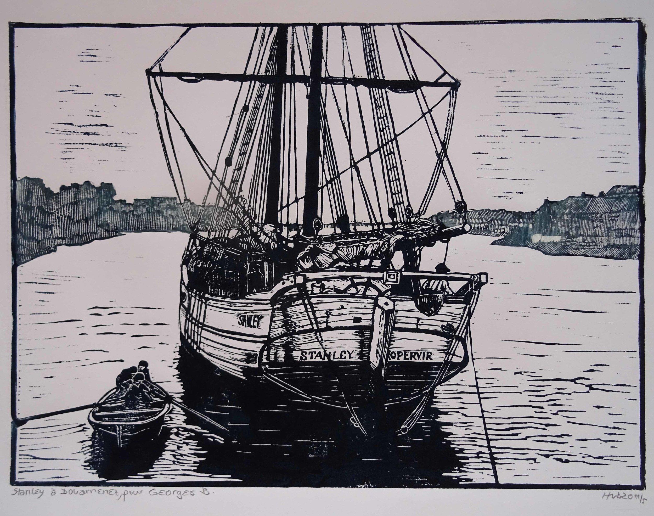 95 - Stanley à Douarnenez, lino 30x42 cm, 80 €