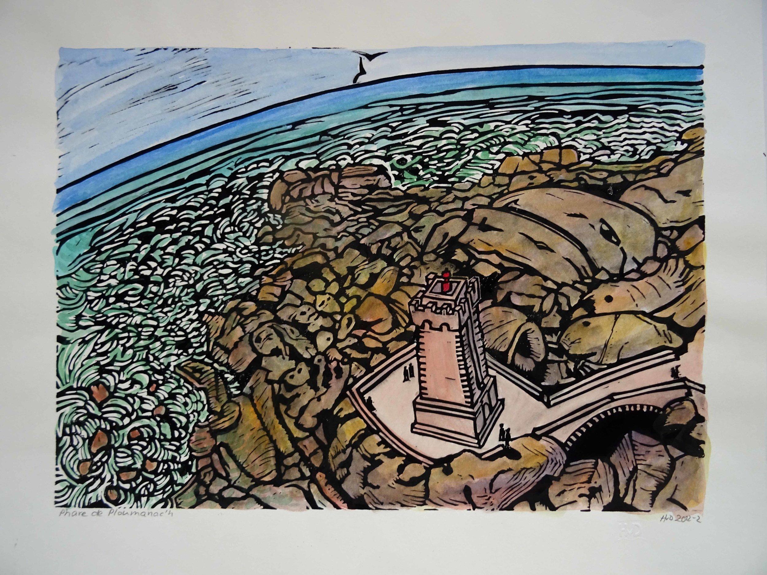101 - Phare de Ploumanac'h, coloured lino 30x42 cm, 100 €