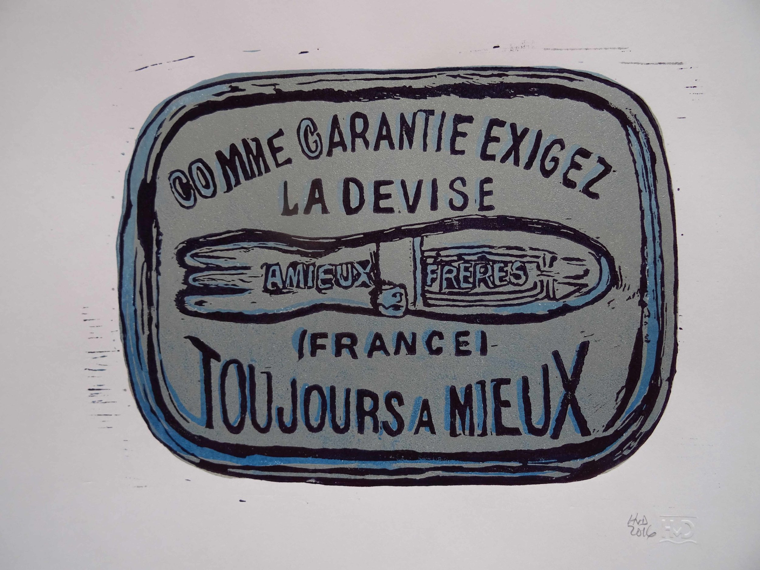 222 - Boite Amieux, 2-plate lino 21x30 cm, 70 €