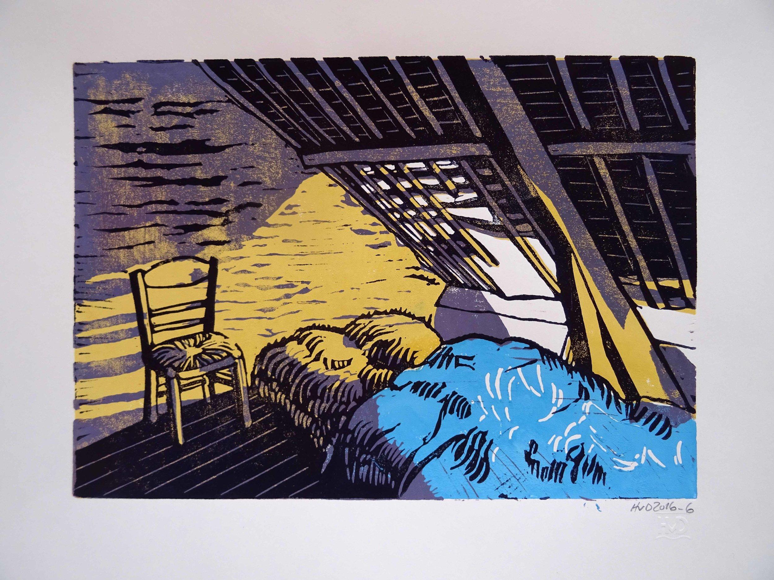 216 - Chambre de Vincent, 3-plate lino 21x30 cm, 80 €
