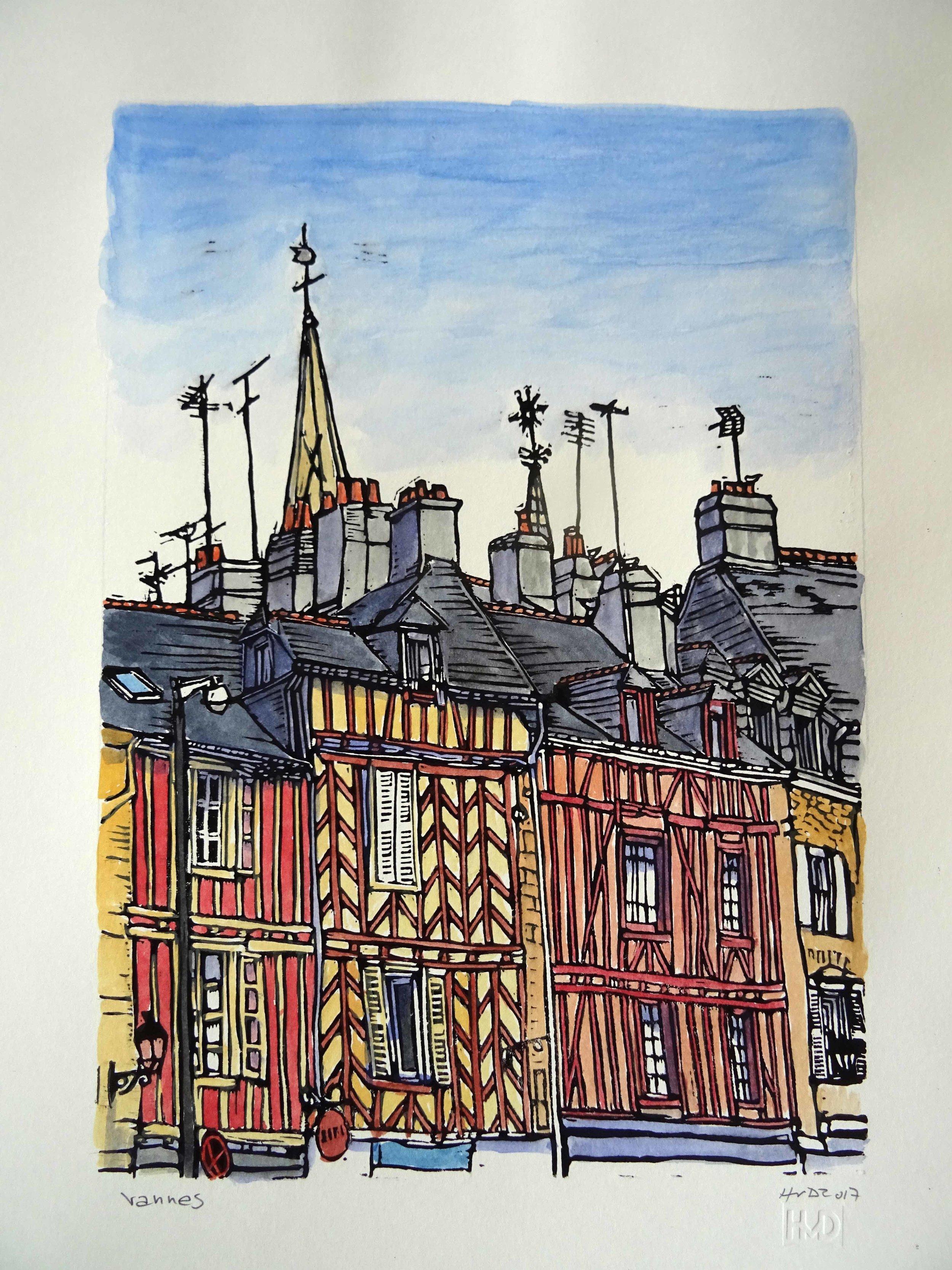 202 - Vannes, coloured lino 30x21 cm, 80 €
