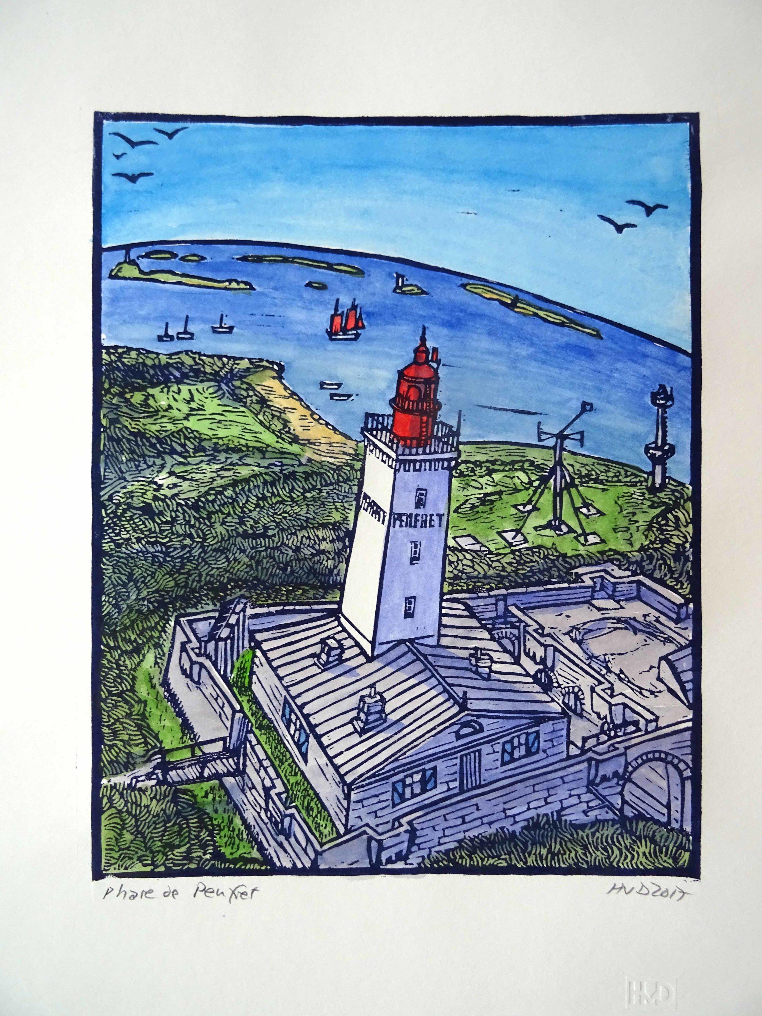 147 - Phare de Penfret, coloured lino, 29x30 cm, 100 €
