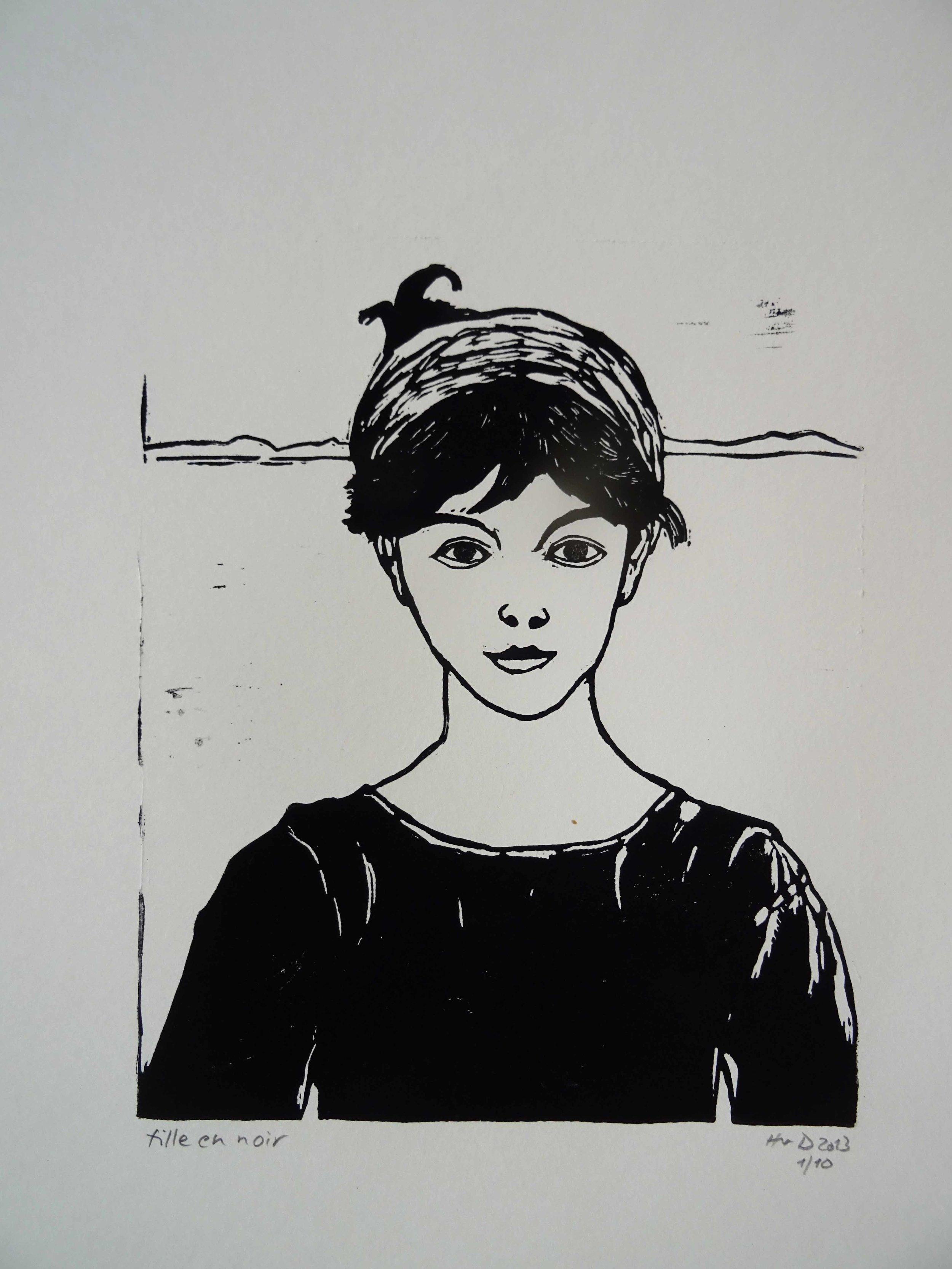 136 - Fille en noir, lino 23.5x19 cm, 60 €