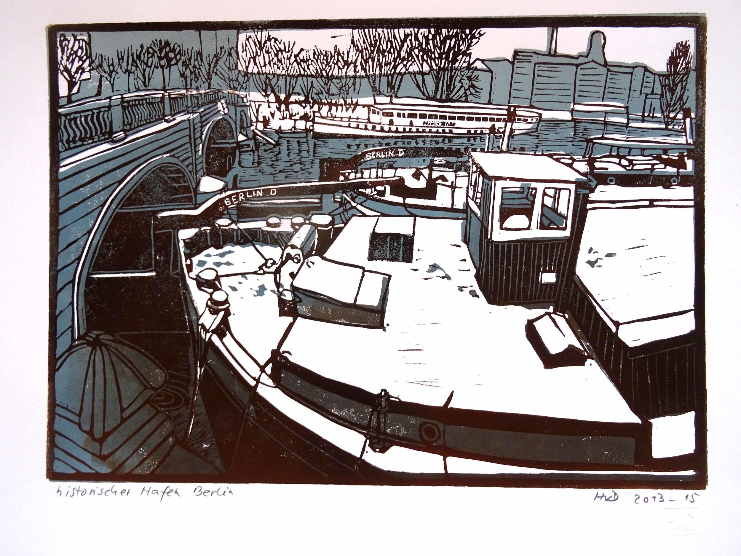 123 - historischer Hafen Berlin im Schnee, 2-plate lino 21x30 cm, 80 €