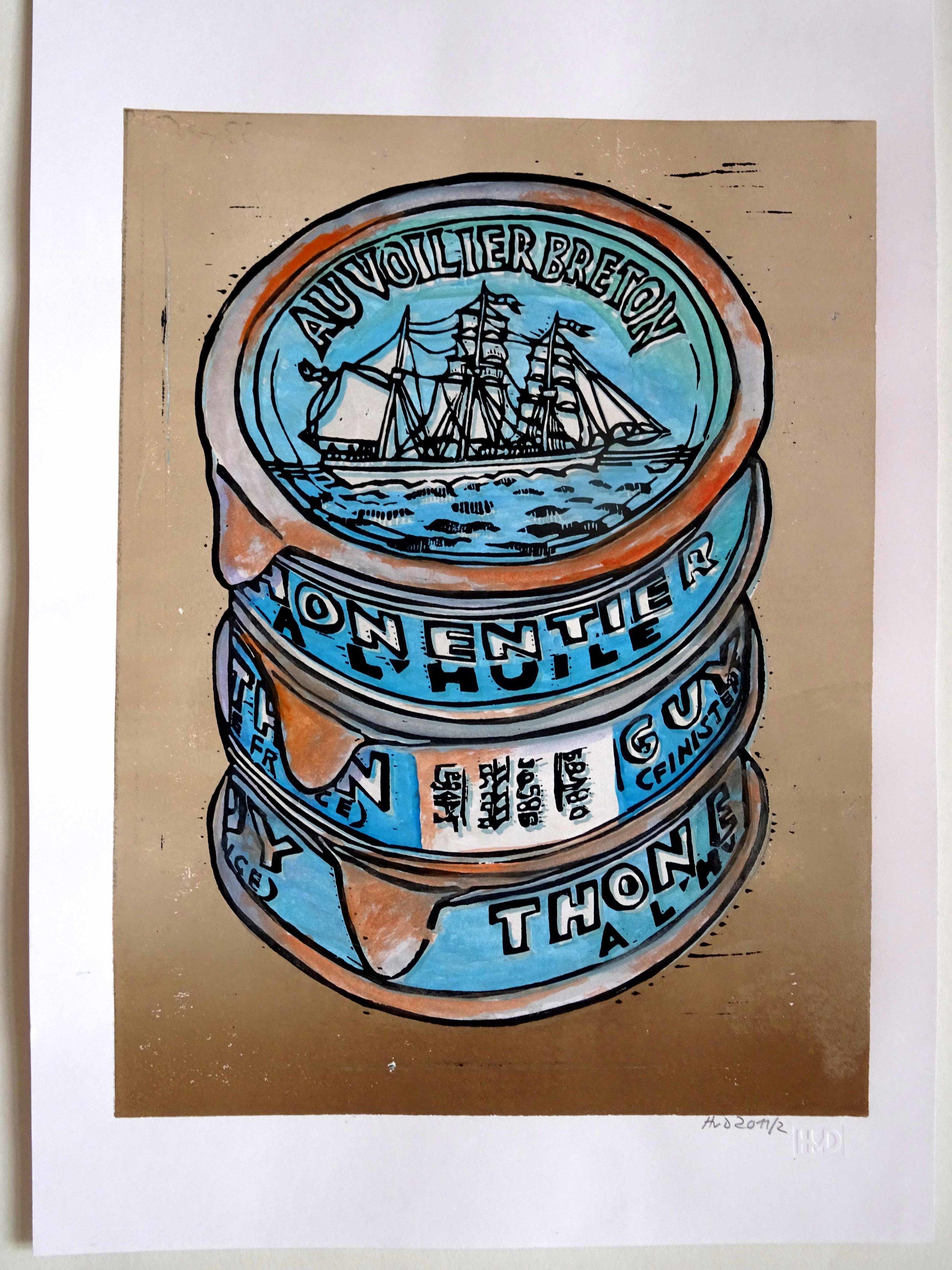 93 - Au voilier breton, coloured 2-plate lino 30x21 cm, 80 €