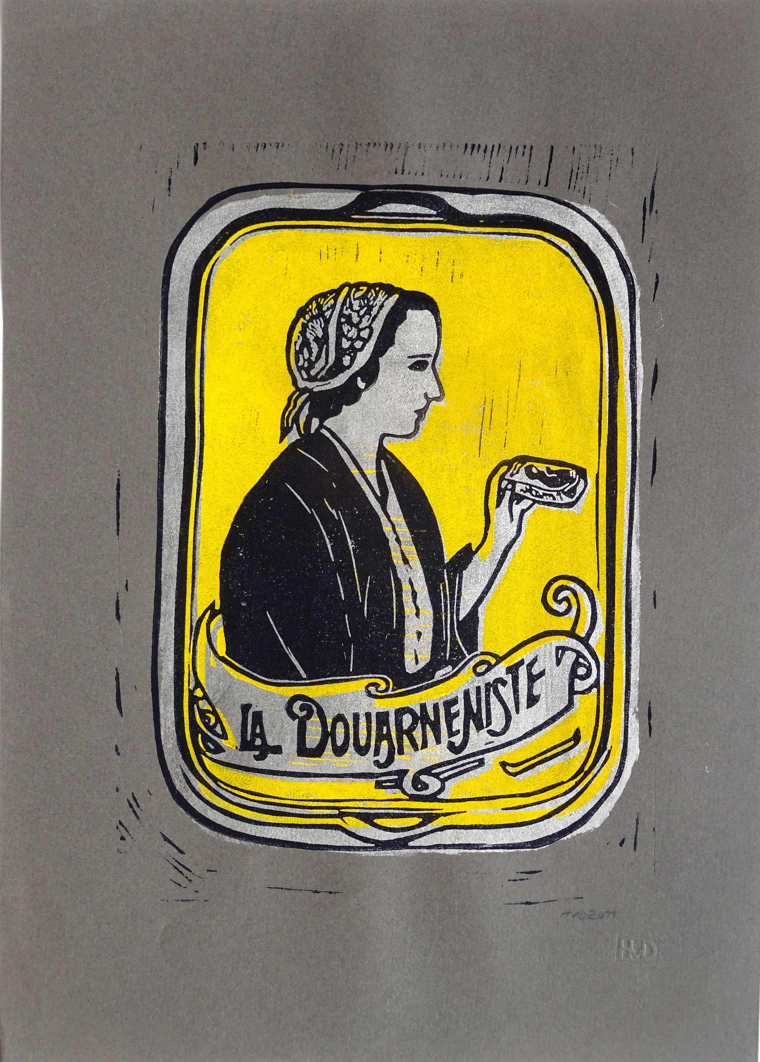 86 - La Douarneniste, 3-plate lino on grey paper, 30x21 cm, 60 €