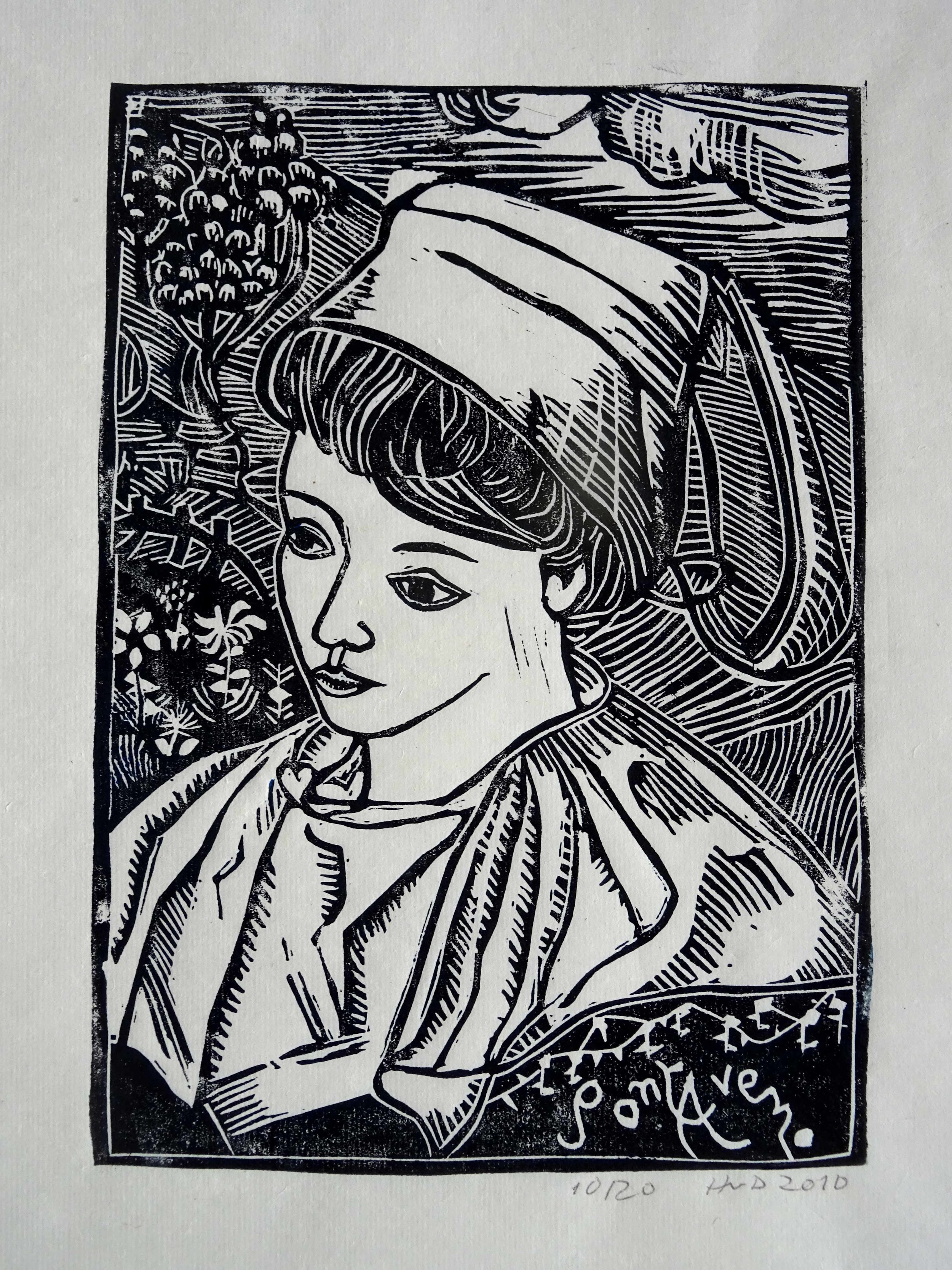 63 - Bretonne de Pont-Aven, lino 23x16 cm on rice paper (45g), 40 €