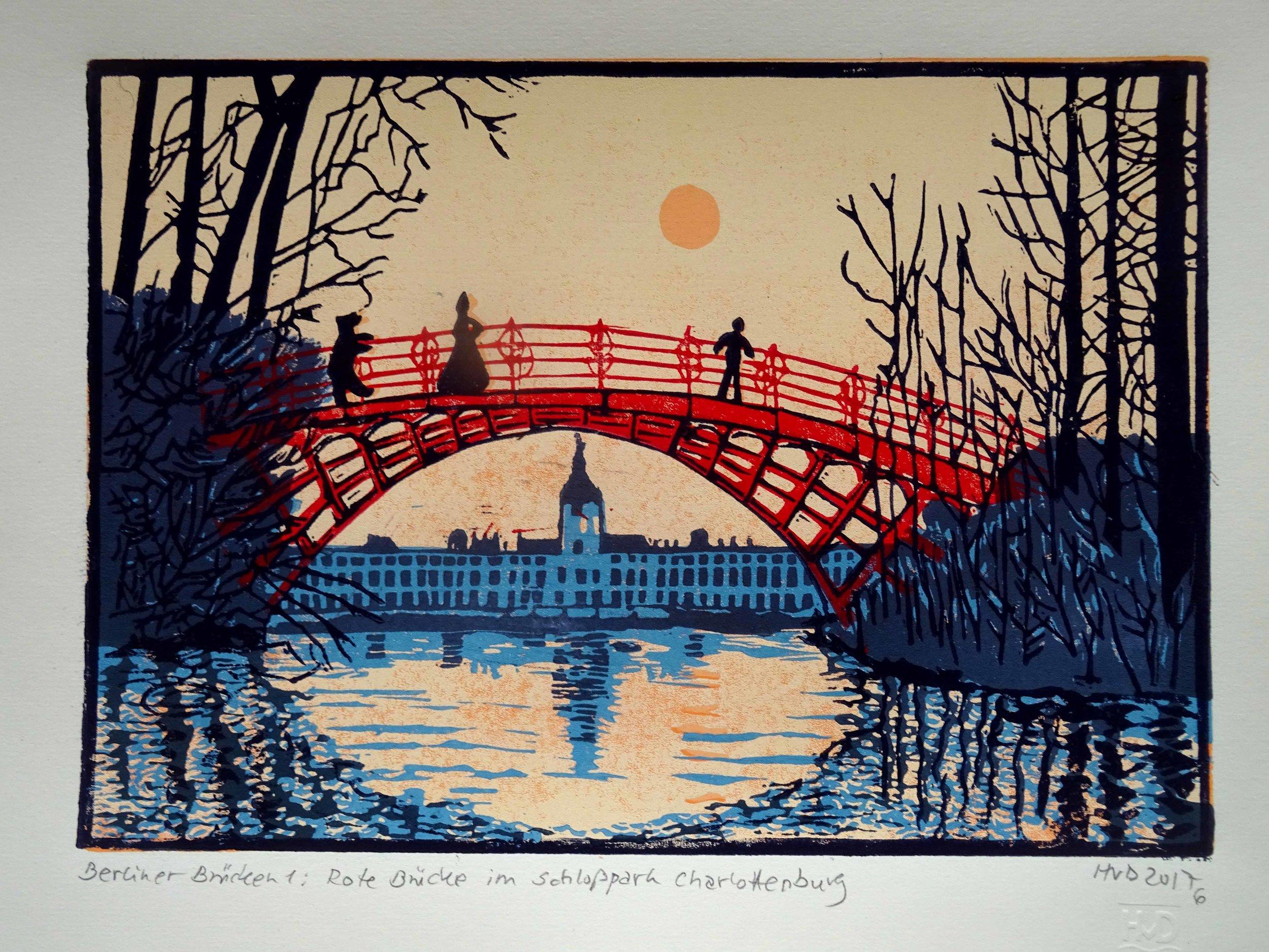 240 - Rote Brücke Schloß Charloettenburg Berlin, 4-plate lino 21x30 cm, 100 €