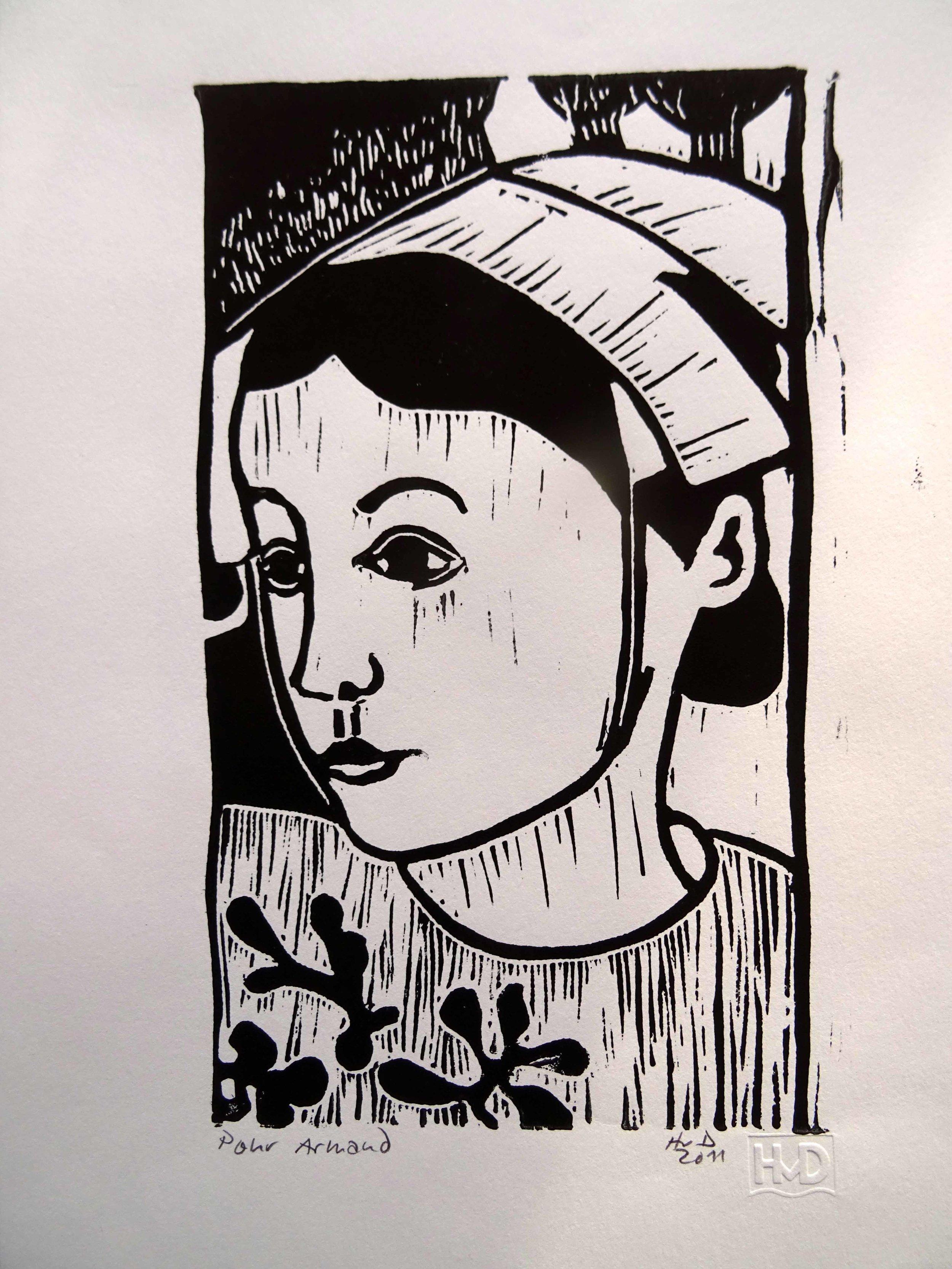 6 - Bretonne, pour Armand, lino 21x12 cm, 20 €