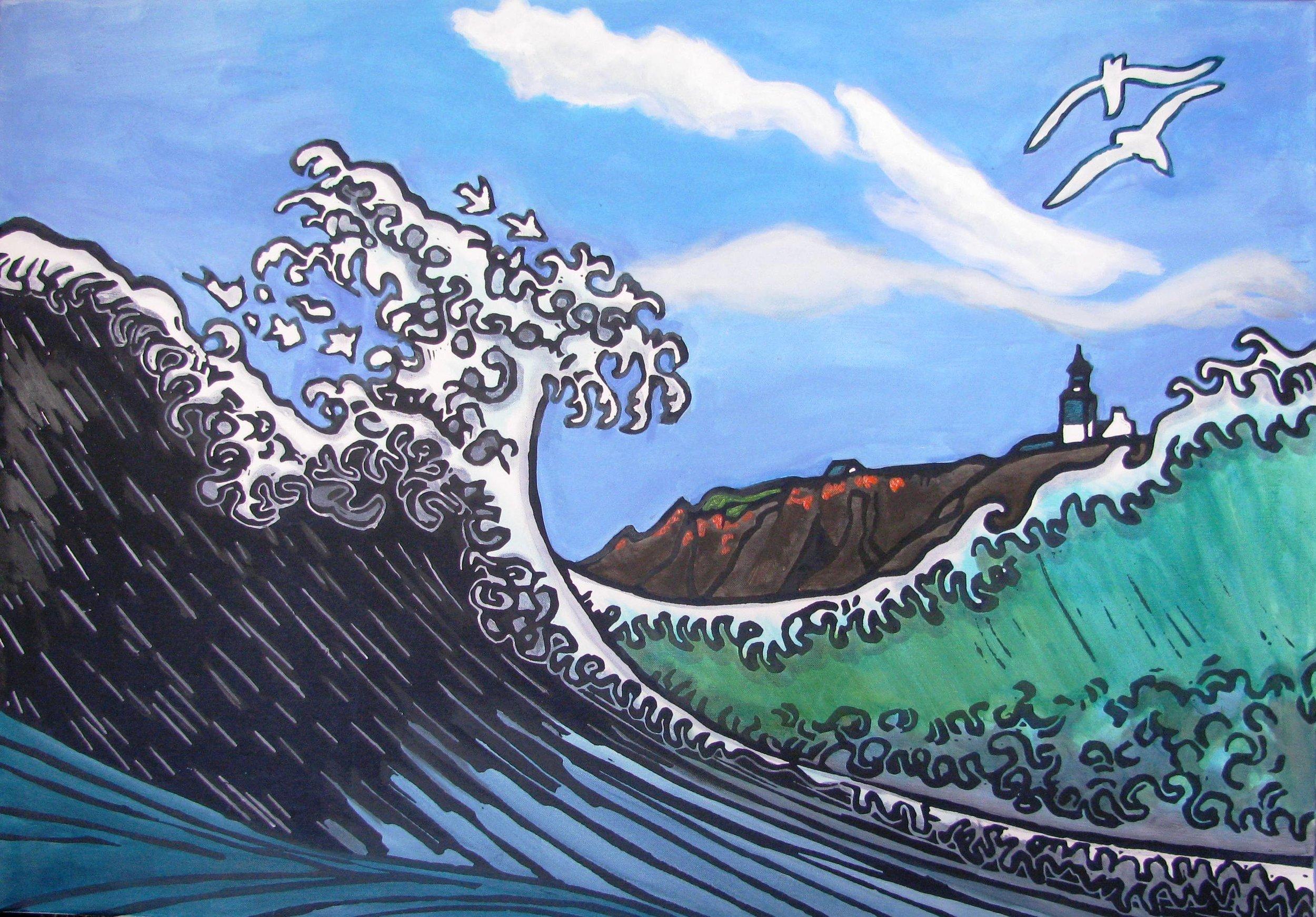 vague de Houkusai à Pen Men (Groix)