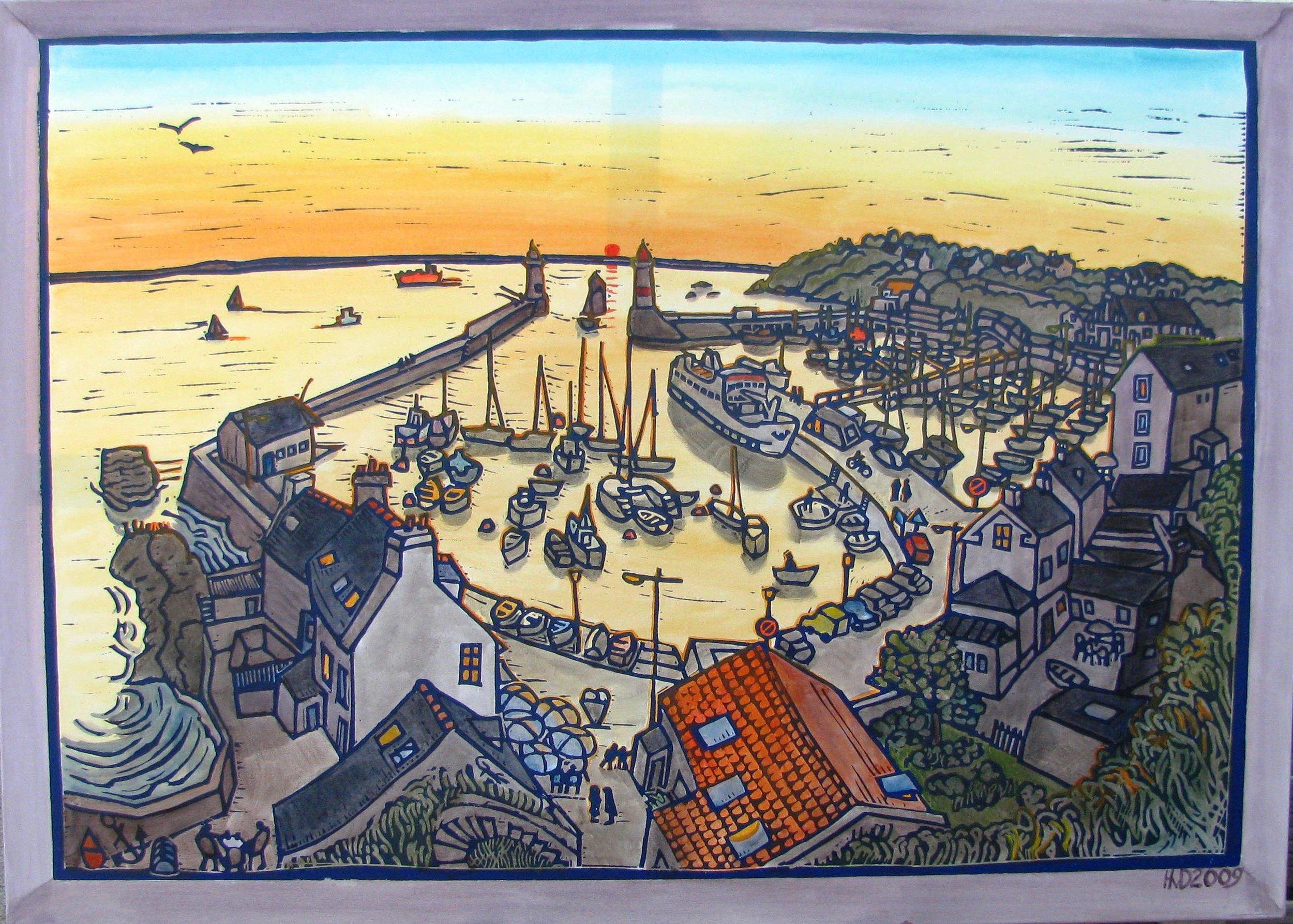 Port Tudy, morning, acrylic 100x140 cm