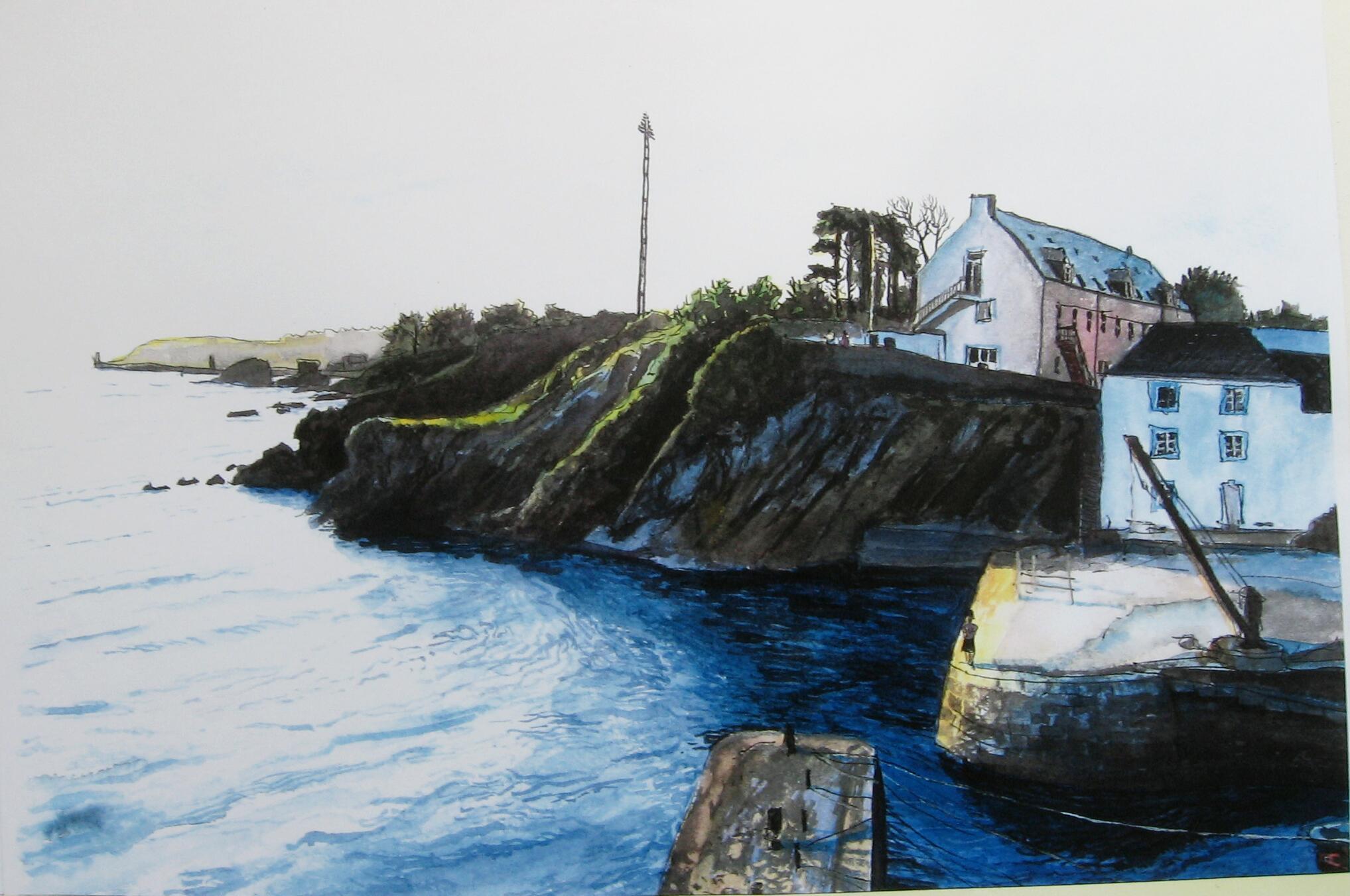Port Lay, Groix, Aquarell