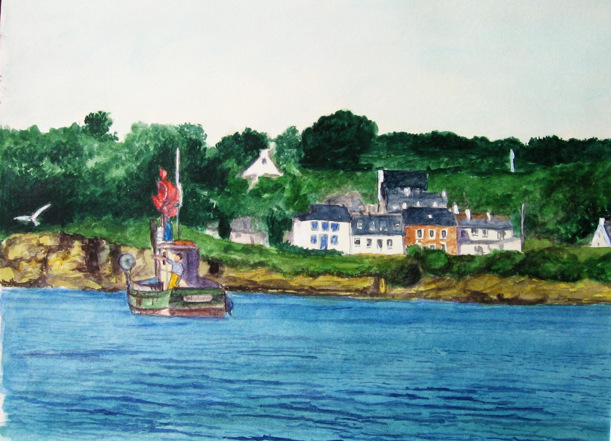 Port Melite 2, Groix, aquarell