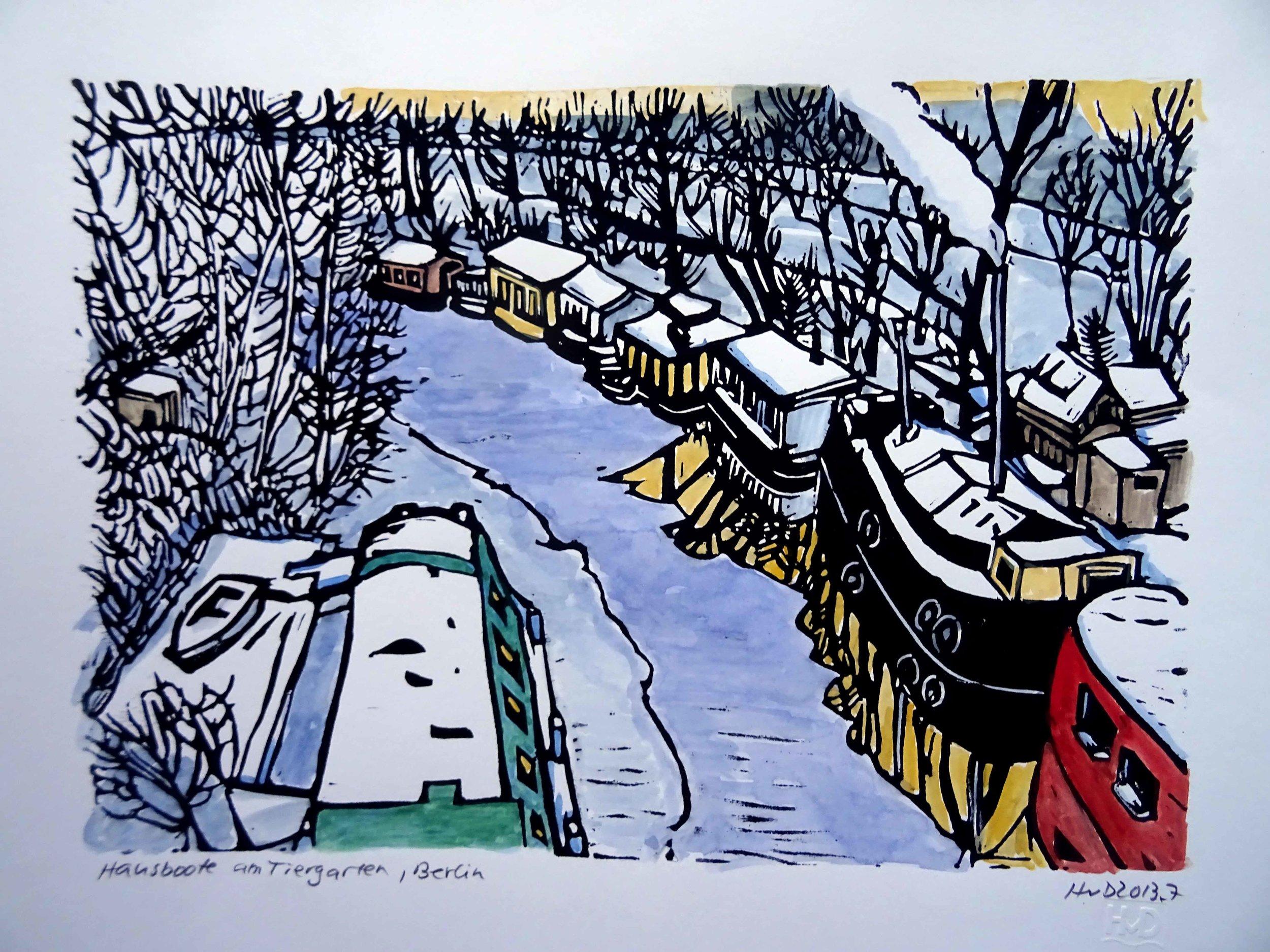 122 - Hausboote am Tiergarten, painted lino 21x30 cm, 80 €