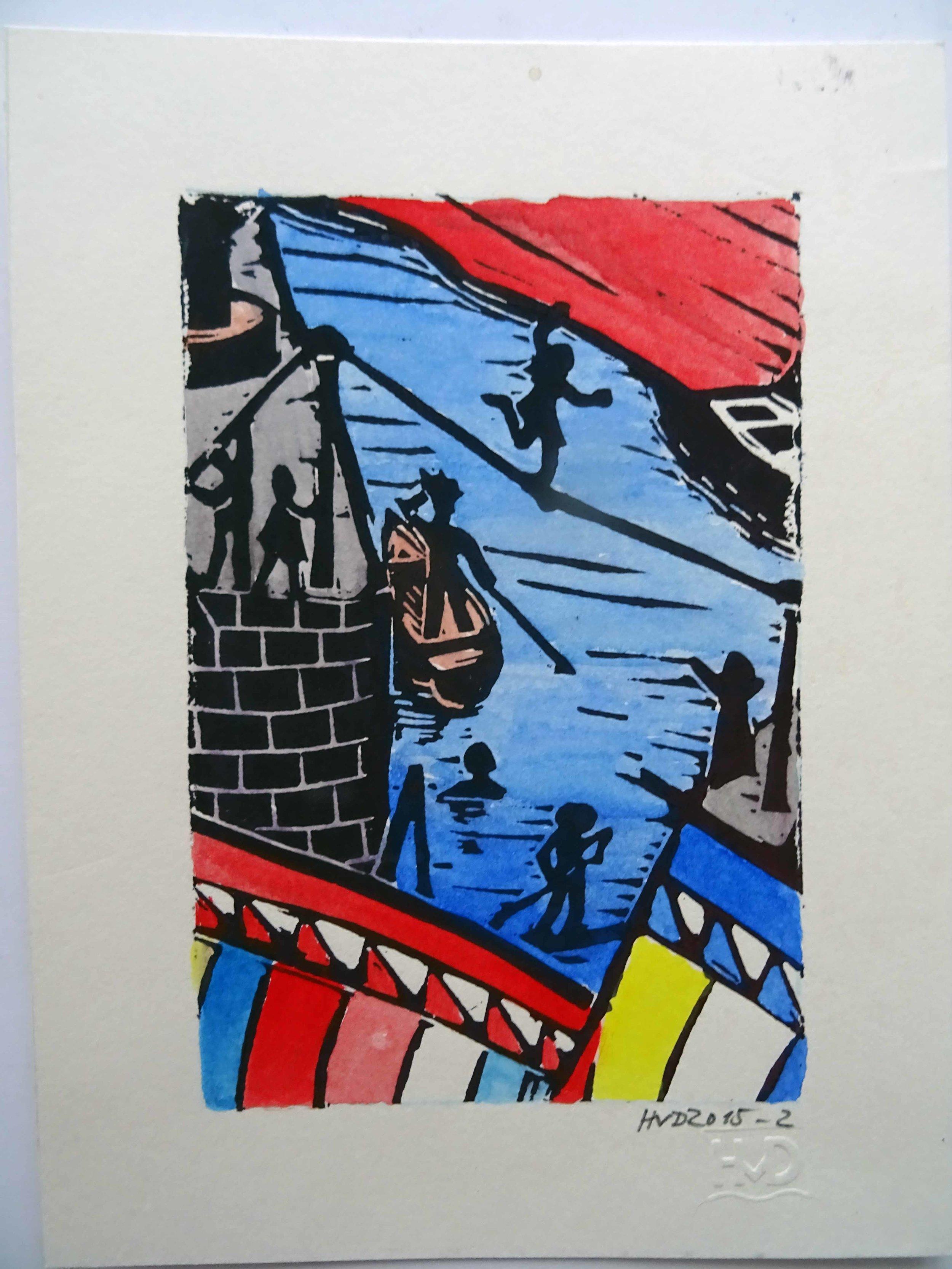 196A - funambule à Port Lay, coloured lino 15x10cm, 50 €