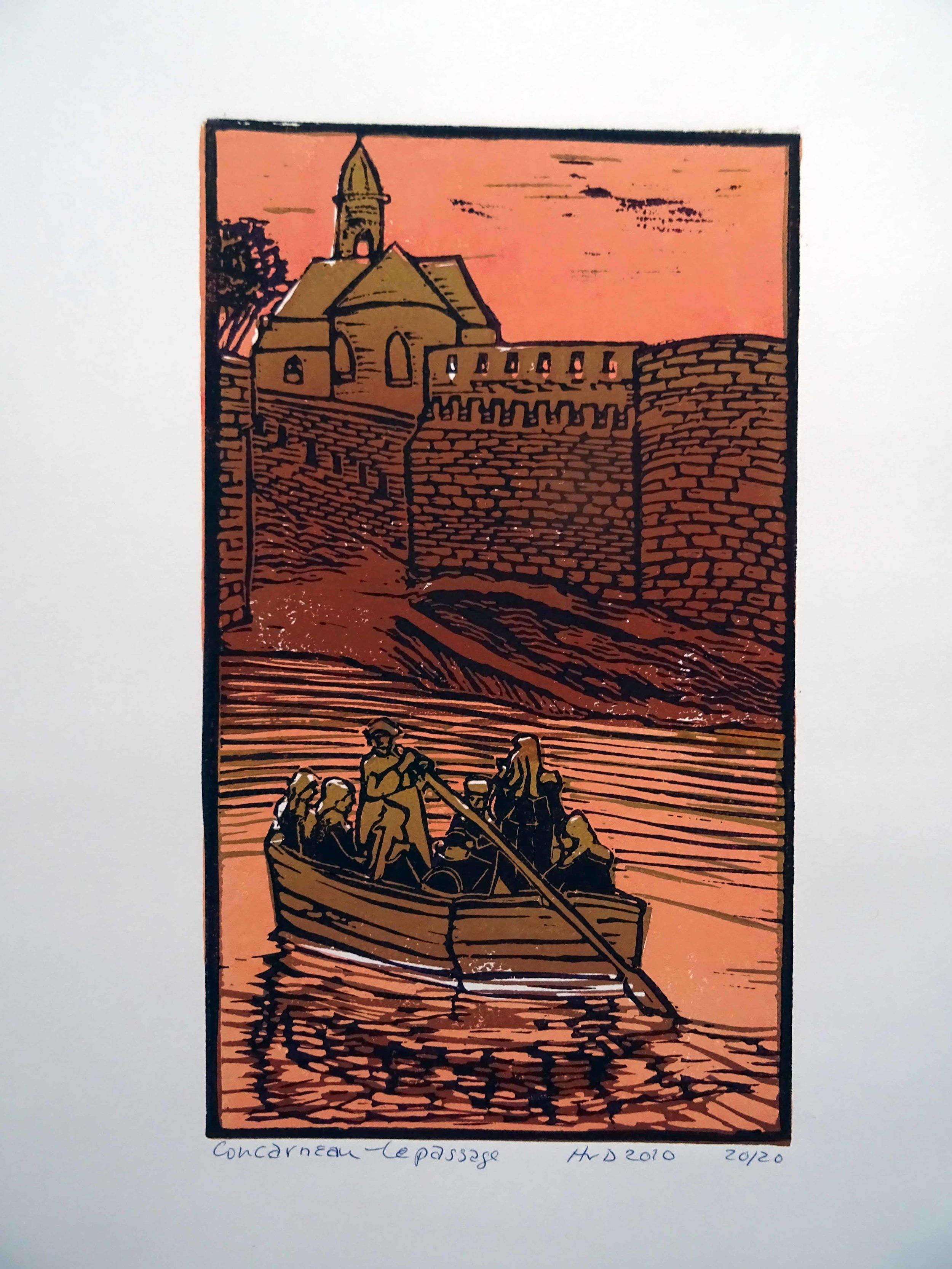 69 - Le passage, Concarneau, 3-plate lino 26,5x15,5 cm, 60 €