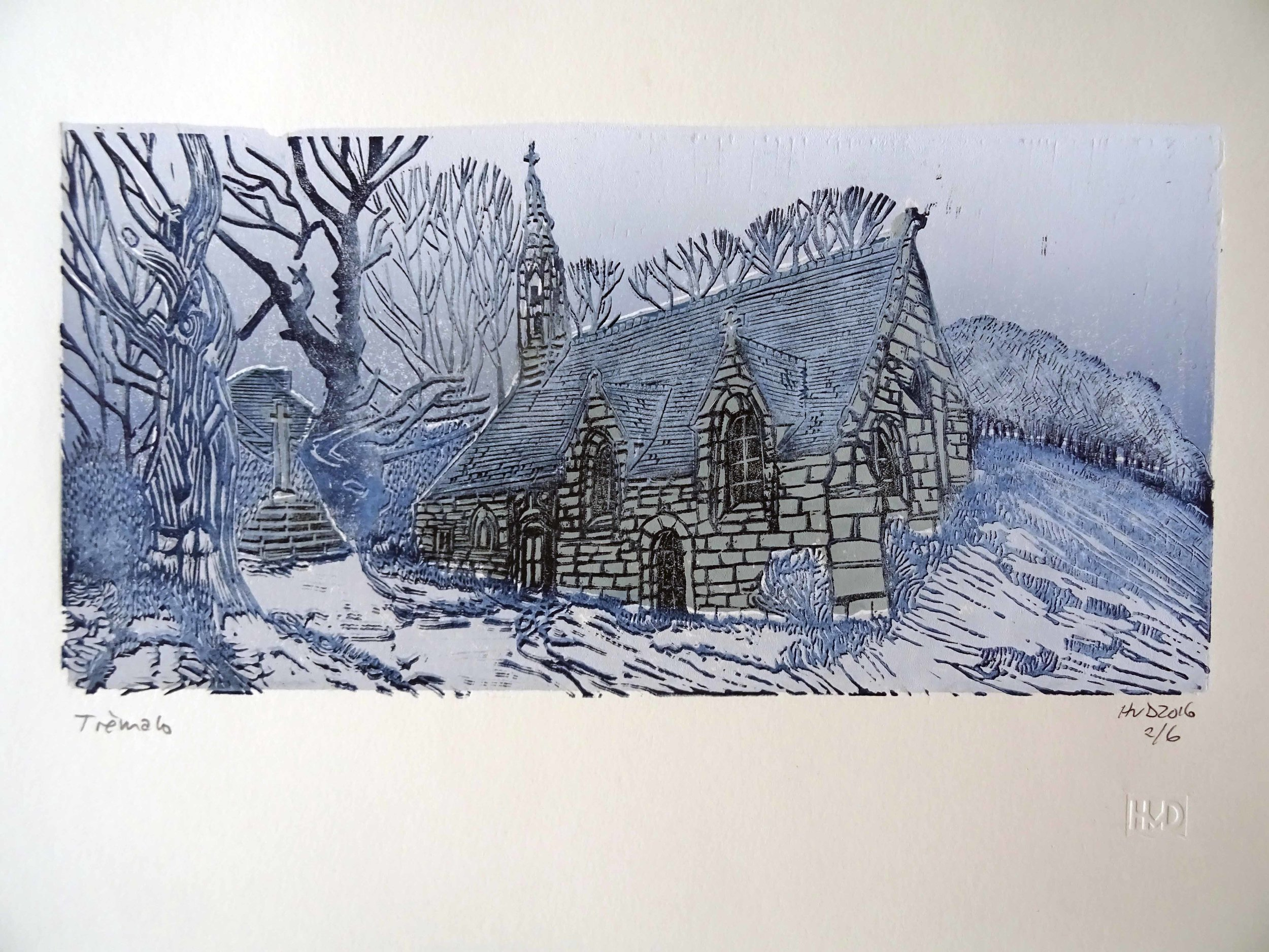 210 A - chapelllede Trémalo, winter, 3-plate lno 15x30 cm, 70 €