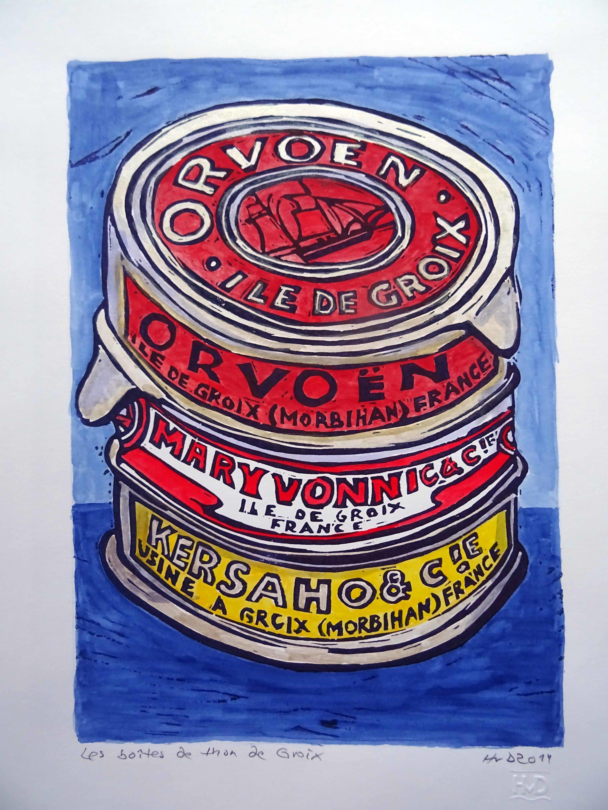 49 - tuna cans Orvoen, coloured lino 30x21 cm. 80 €
