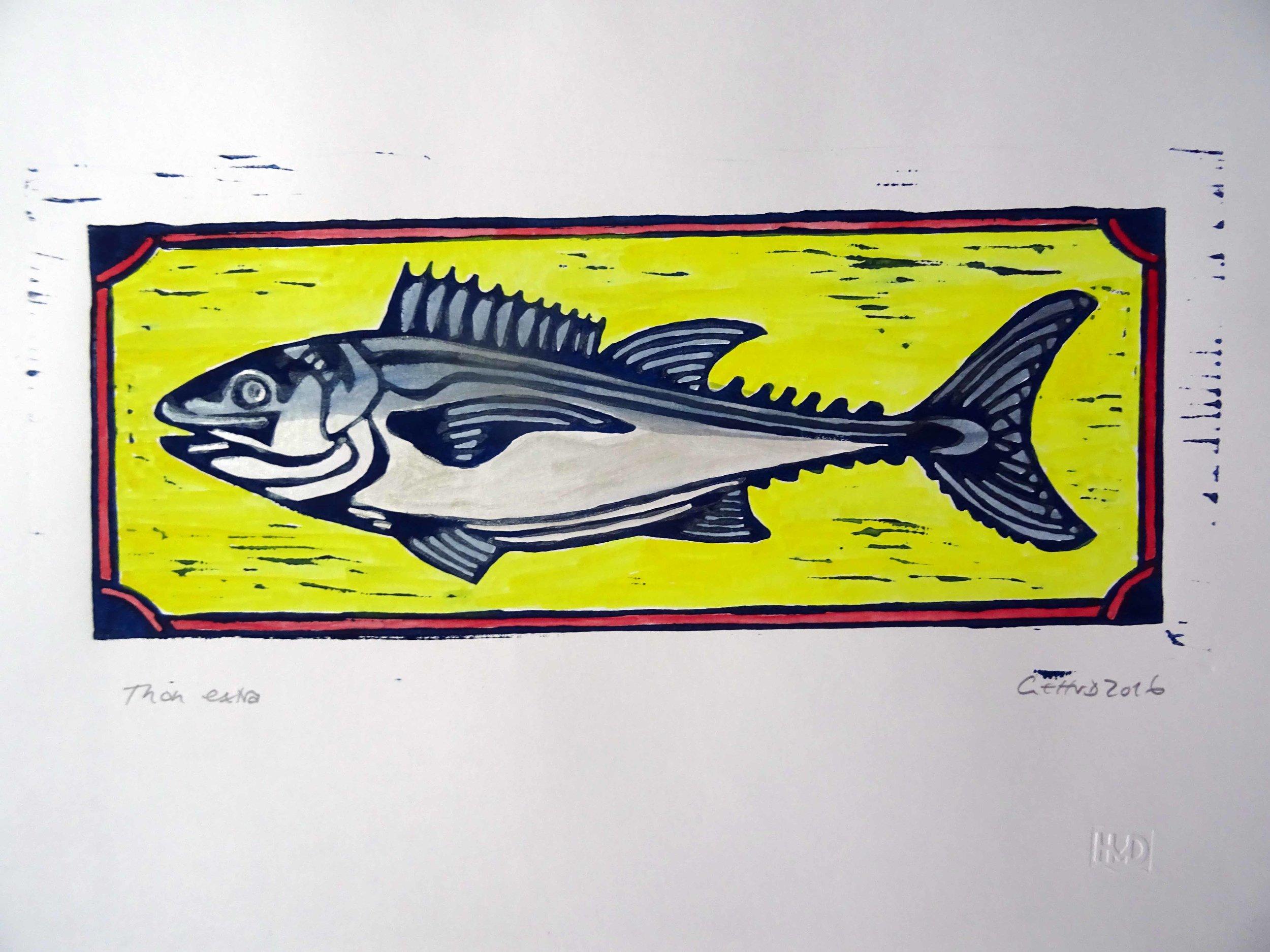 51 - thonextra, coloured lino 14x33 cm, 30 €