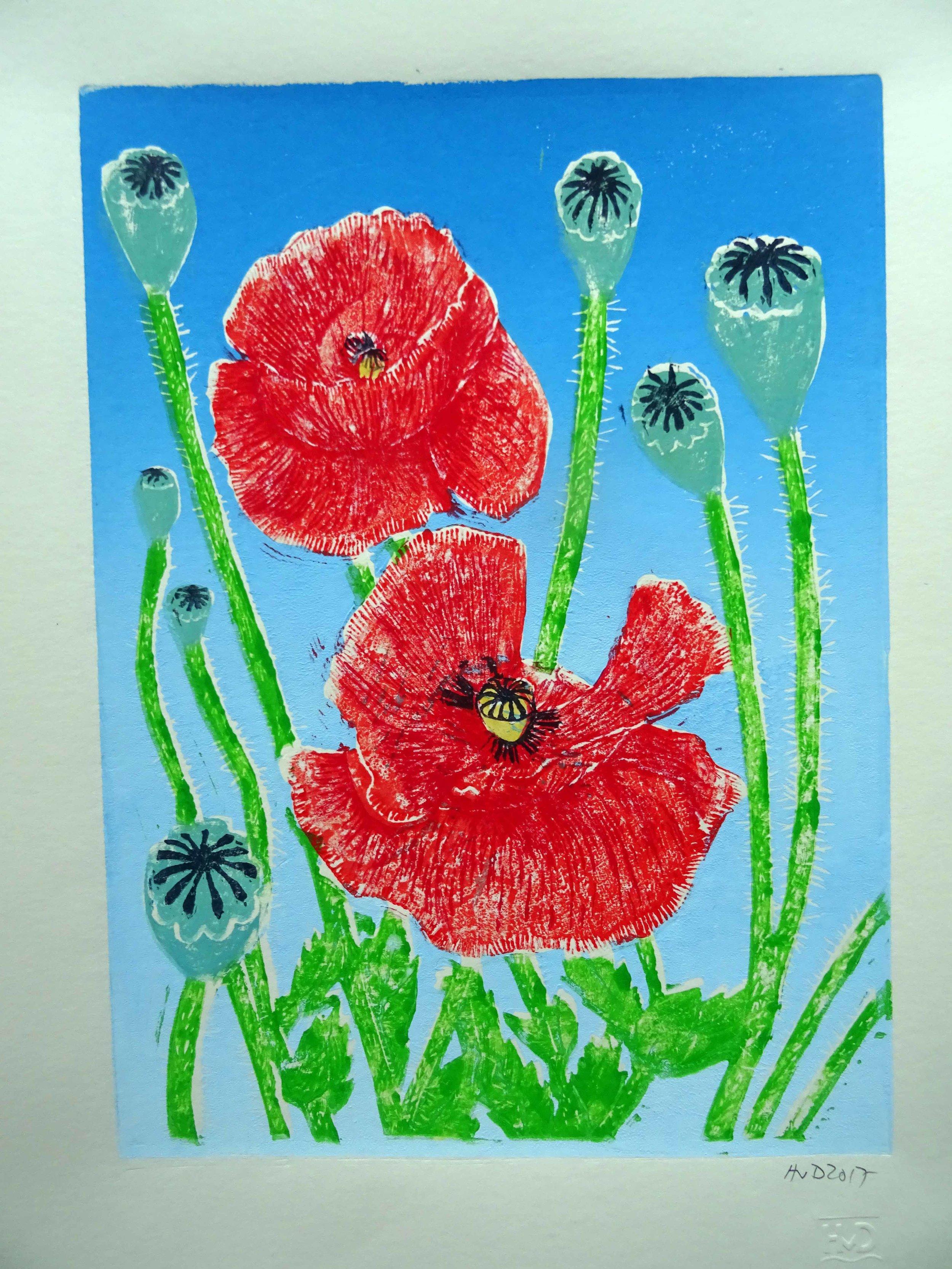 243 - Mohnblumen, 3-plate lino 30x21 cm, 70 €