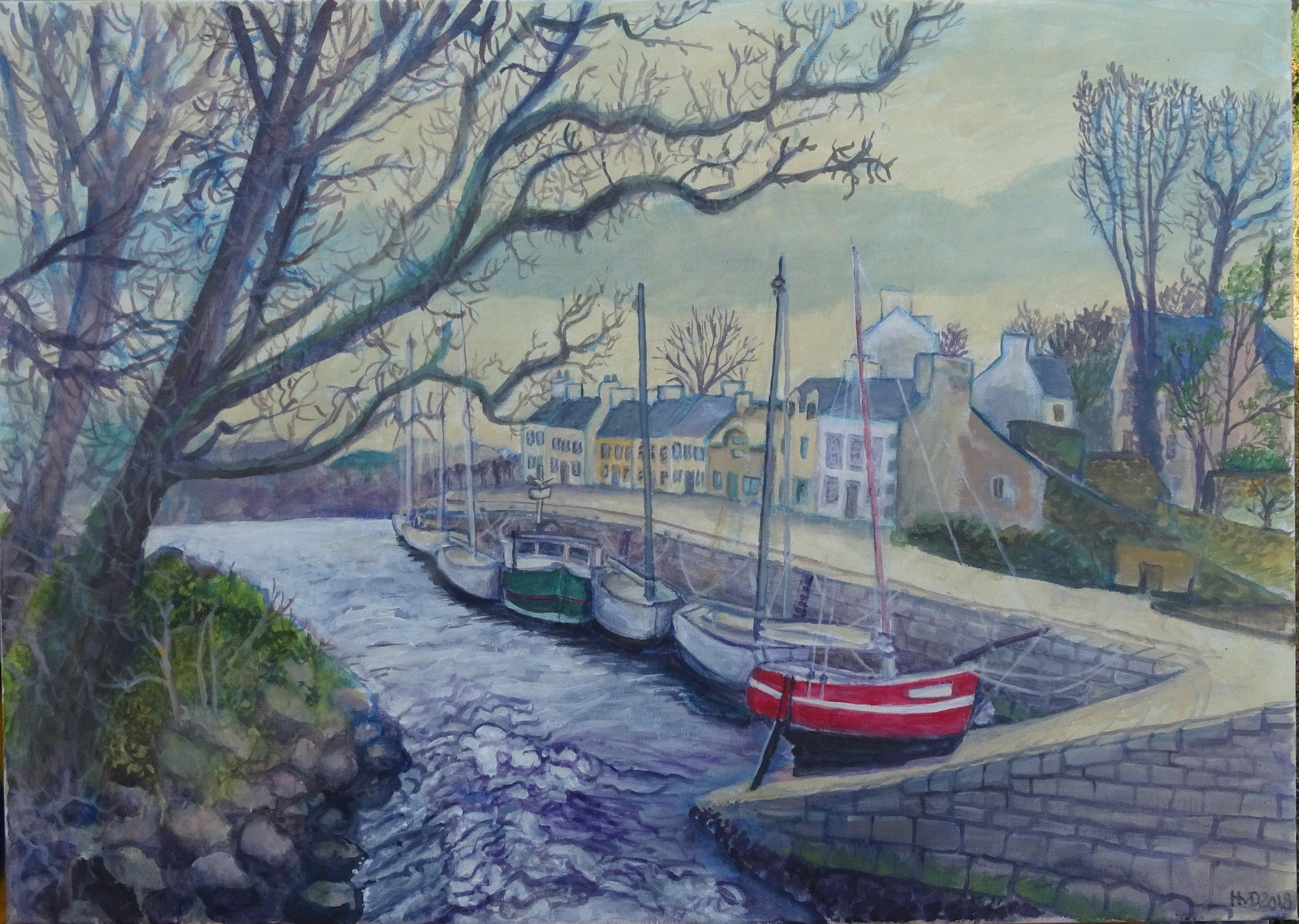 Pont Aven port, acrylic on canvas 50 x 70 cm
