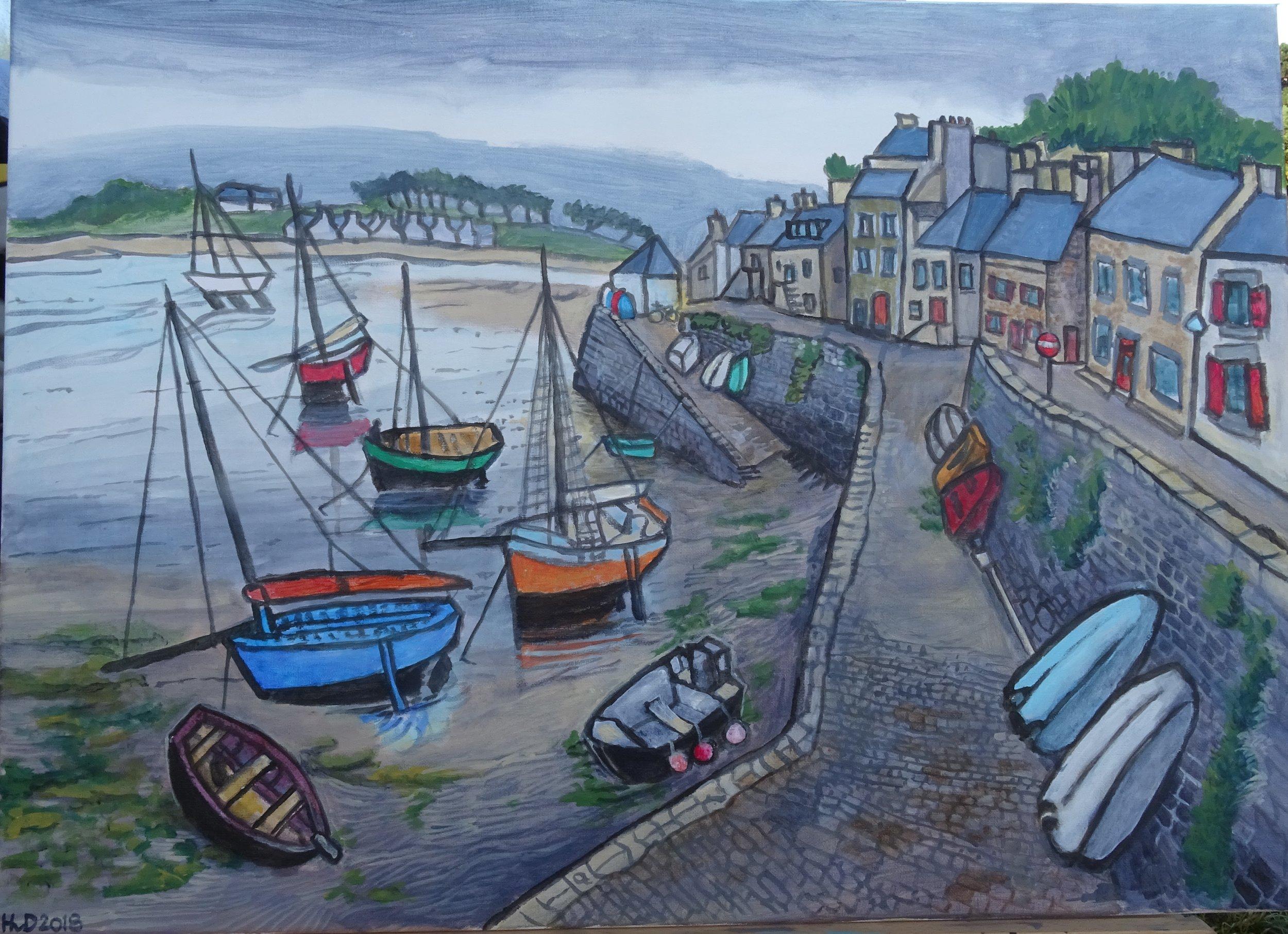 Le Conquet port, acrylic on canvas 50 x 70 cm