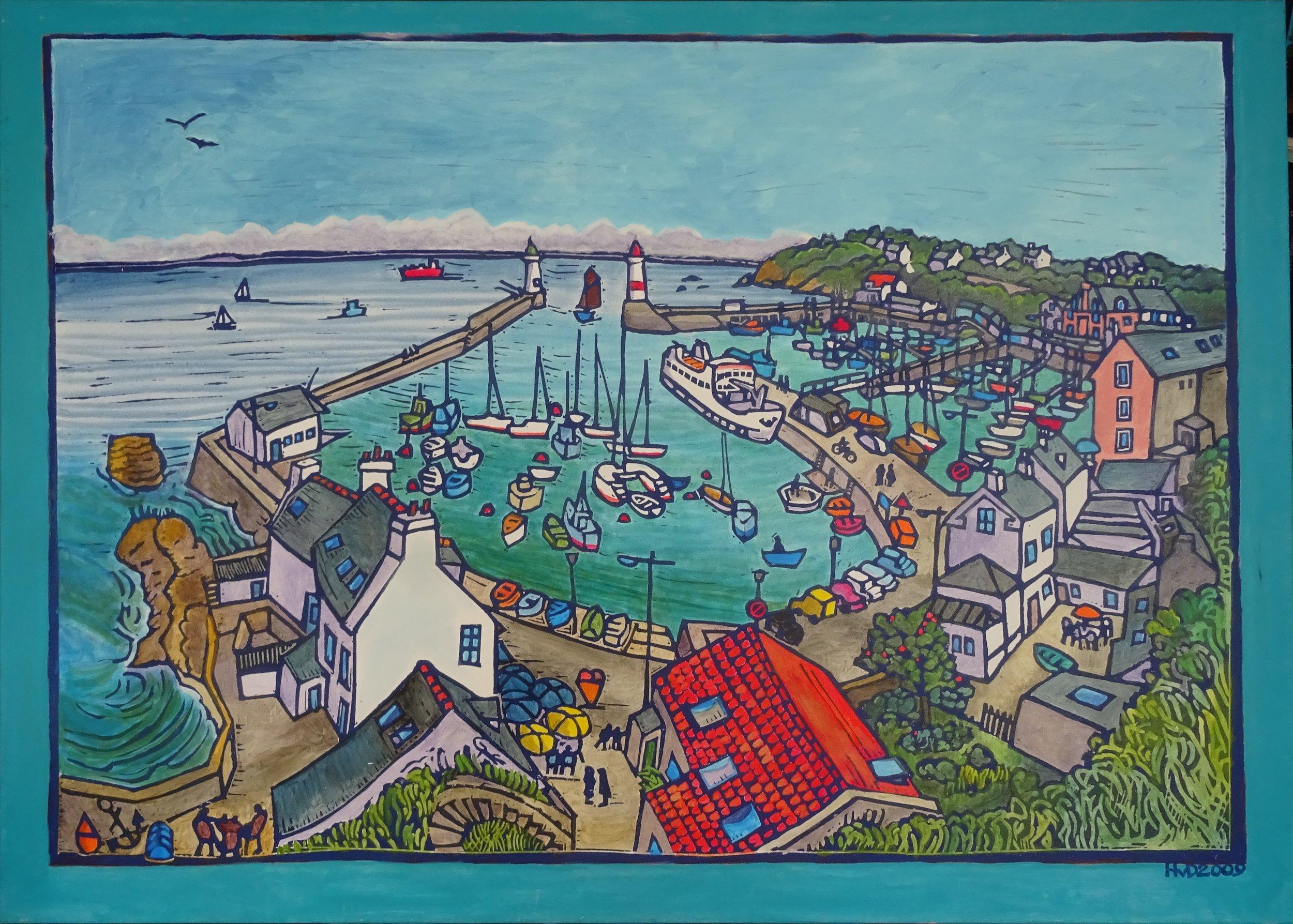 Ile de Groix, Port Tudy, acrylic on canvas 100 x140 cm, 800 €